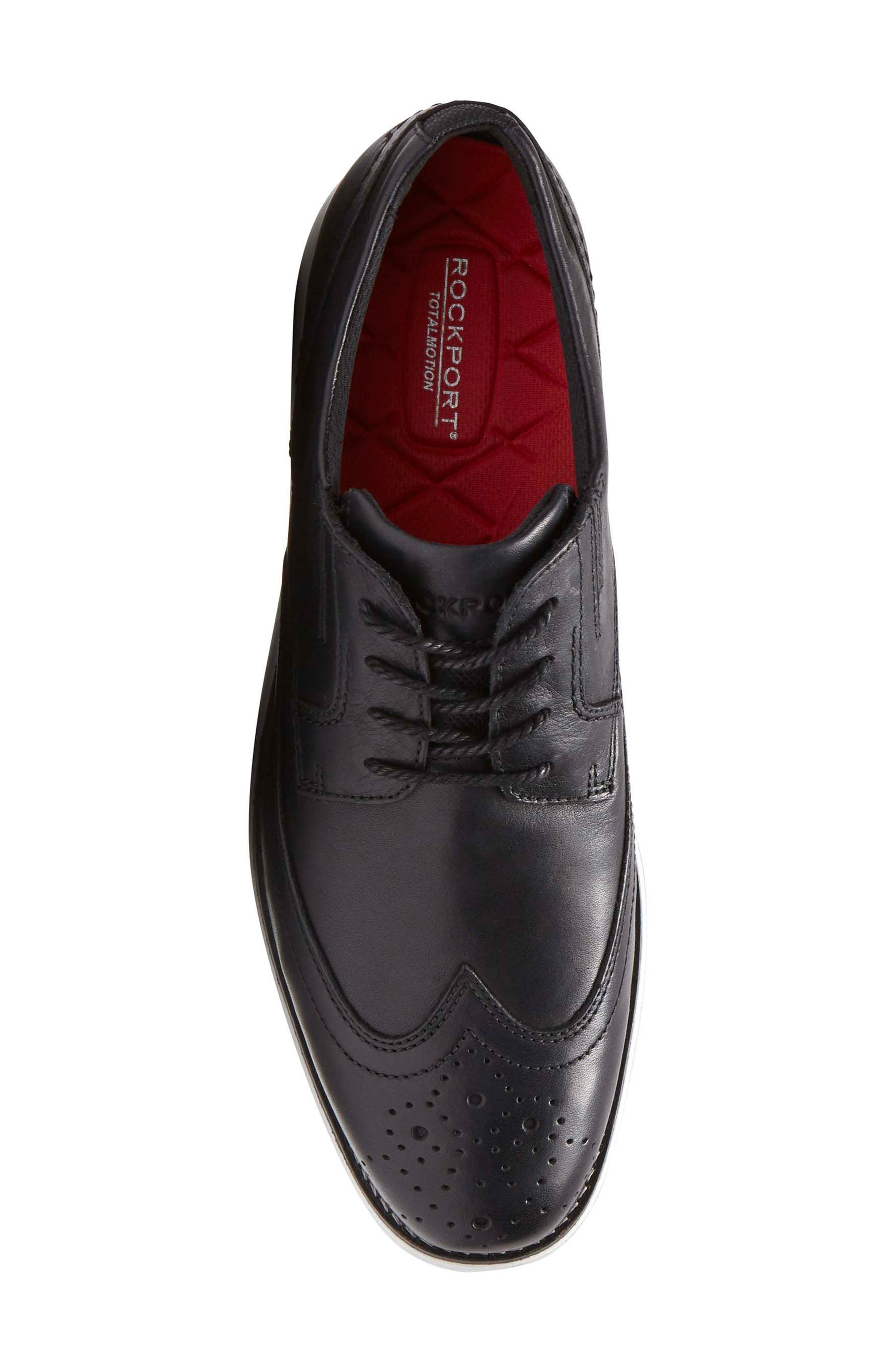 Total Motion Sport Wingtip,                             Alternate thumbnail 5, color,                             Black Leather