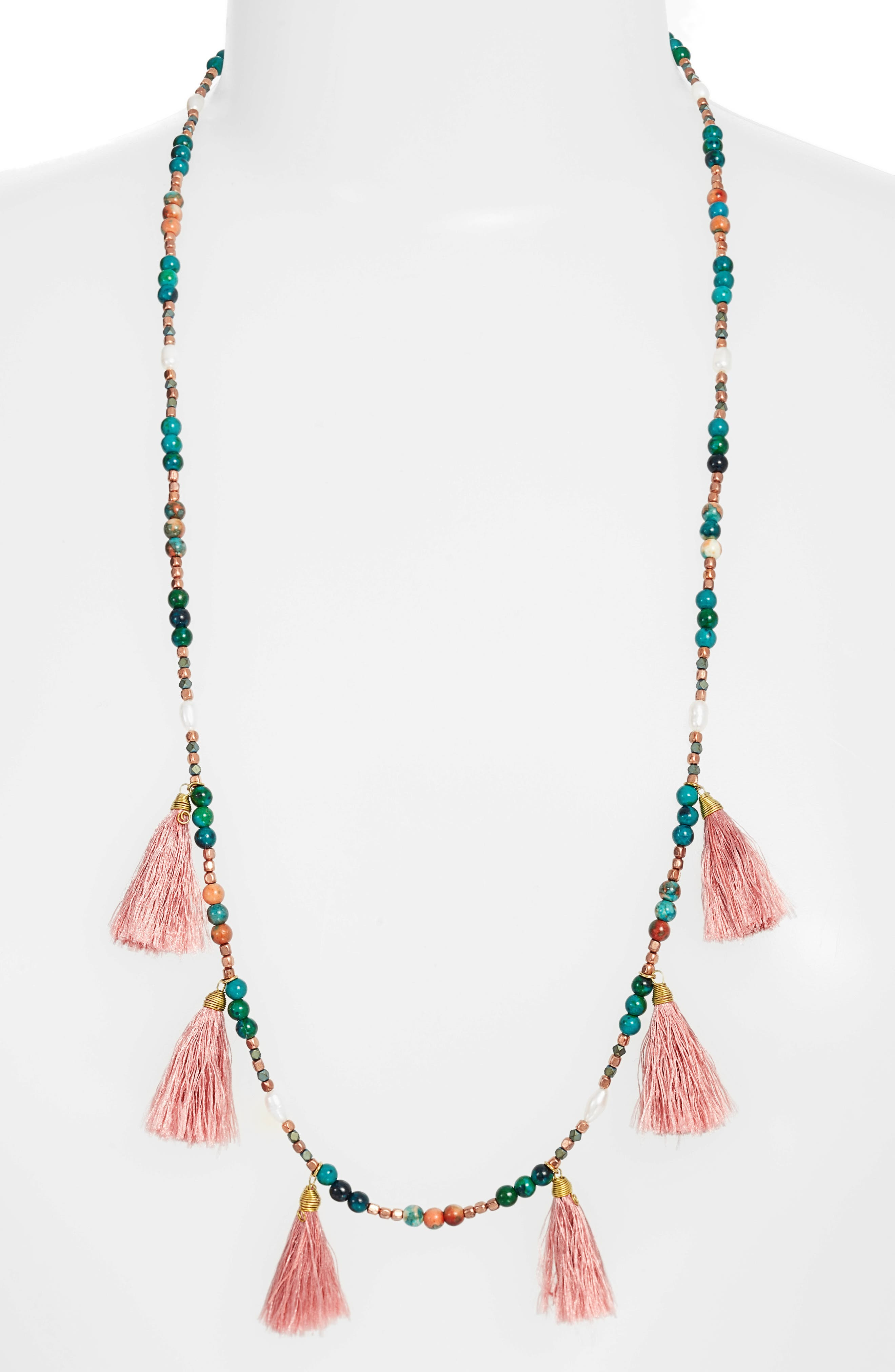 Tiny Tassel Beaded Necklace,                         Main,                         color, Teal