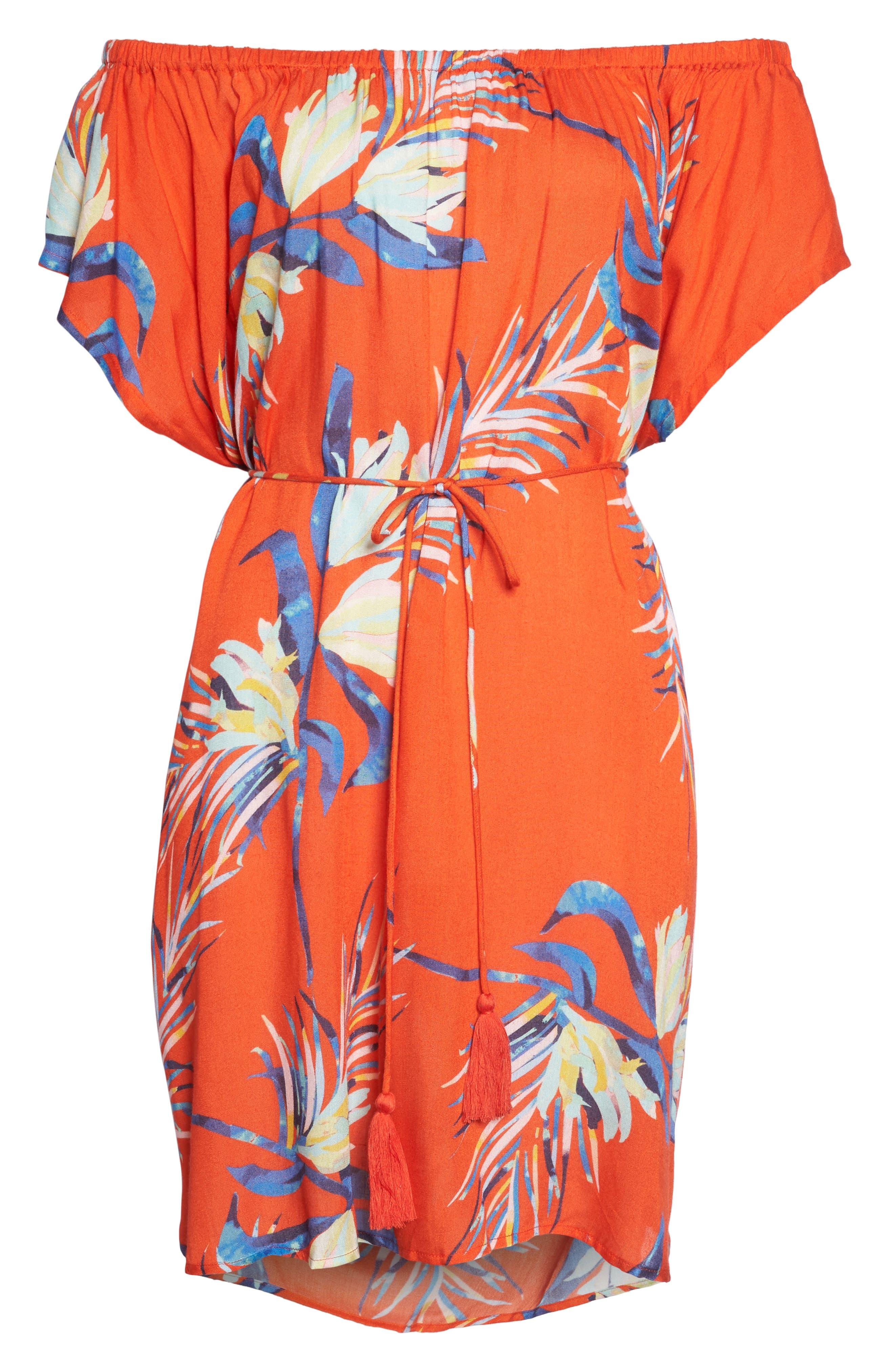 Paradise Palm Off the Shoulder Cover-Up Dress,                             Alternate thumbnail 6, color,                             Tangerine