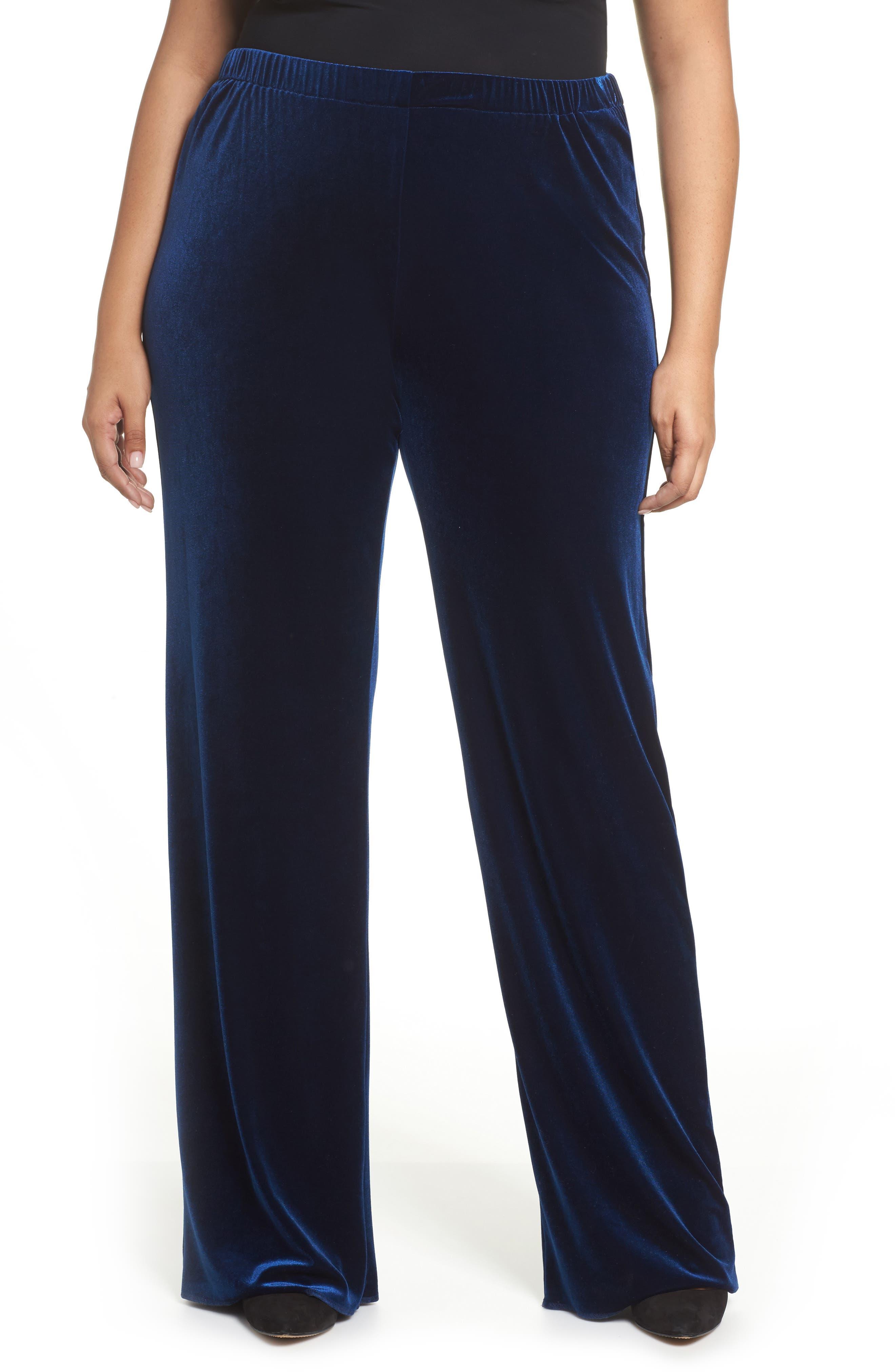 Rosita Velour Pants,                         Main,                         color, Dark Navy