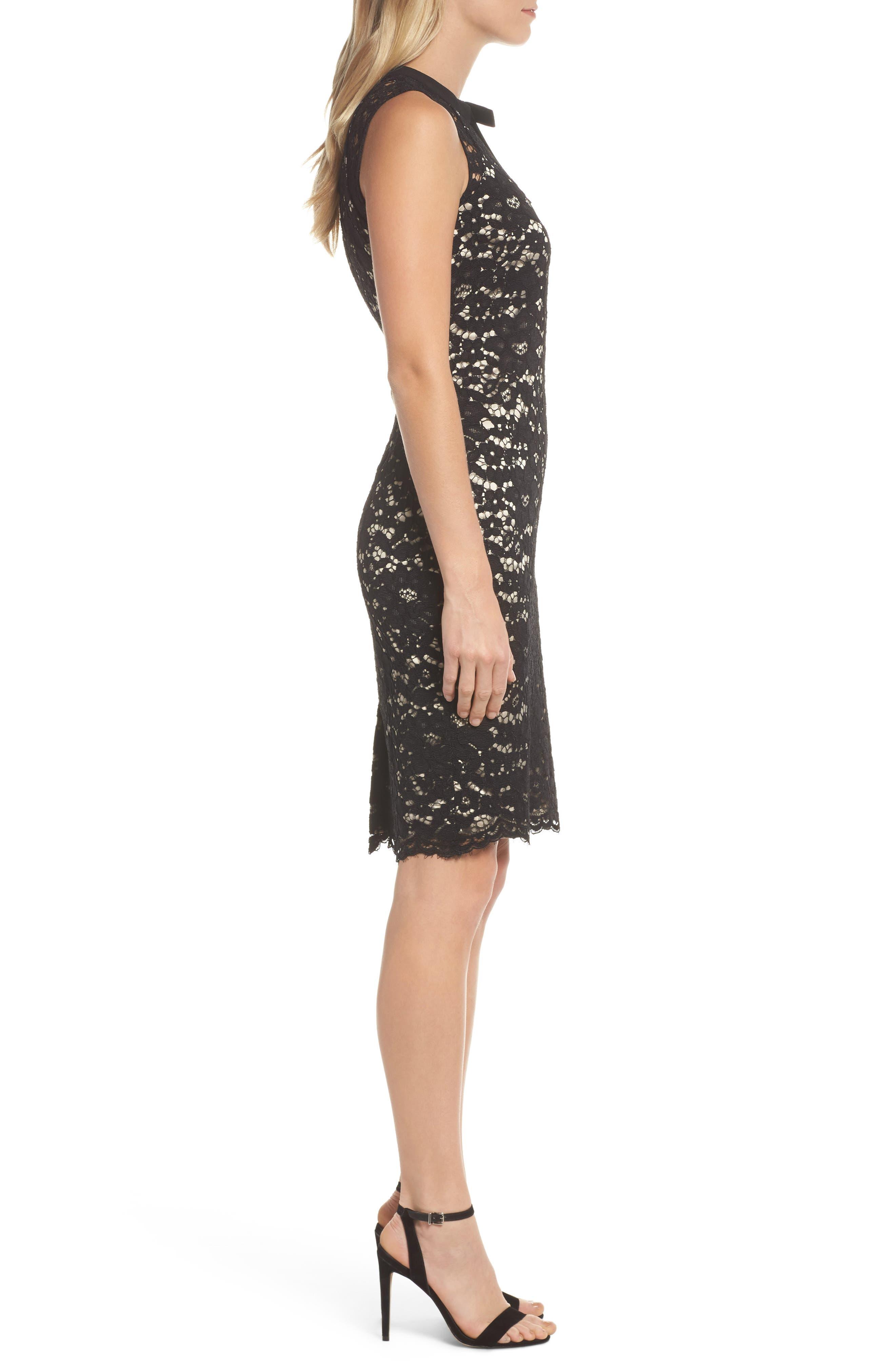 Lace Sheath Dress,                             Alternate thumbnail 3, color,                             Black