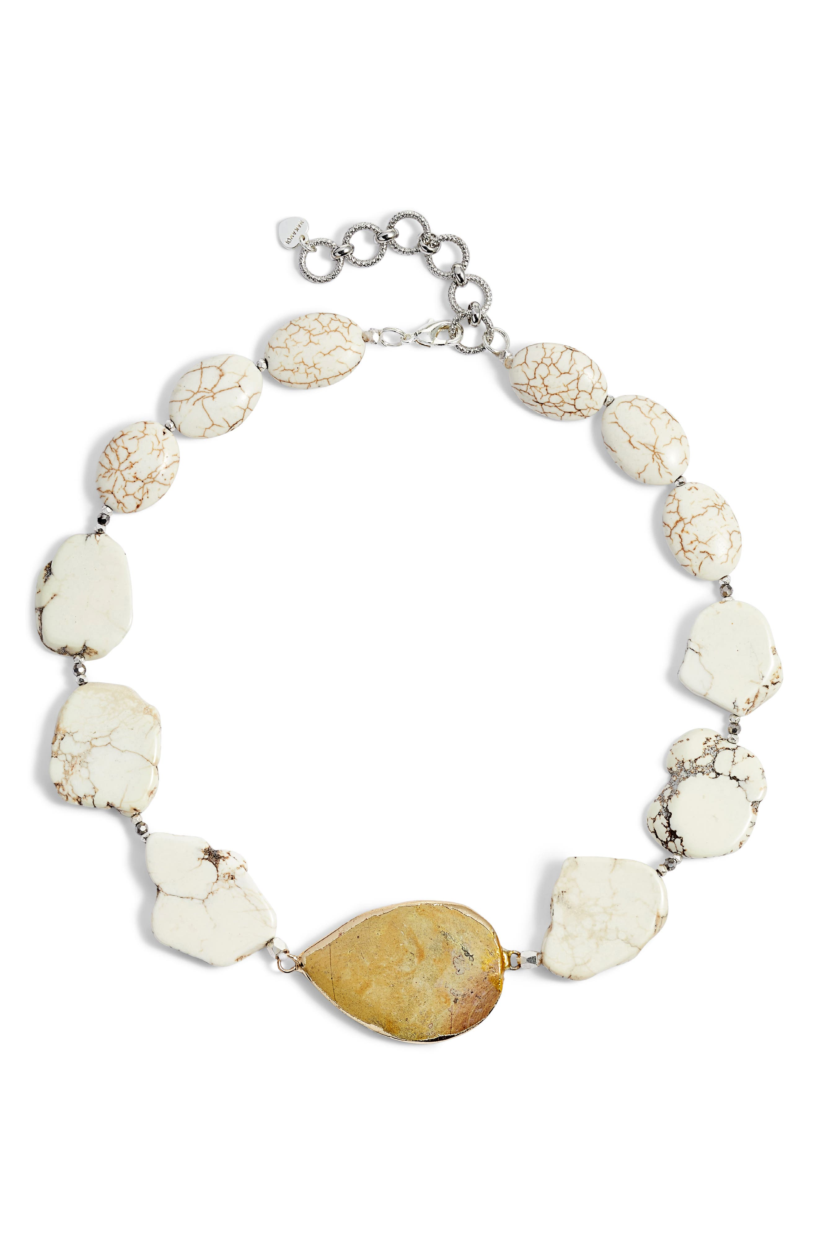 Chunky Stone Necklace,                         Main,                         color, White