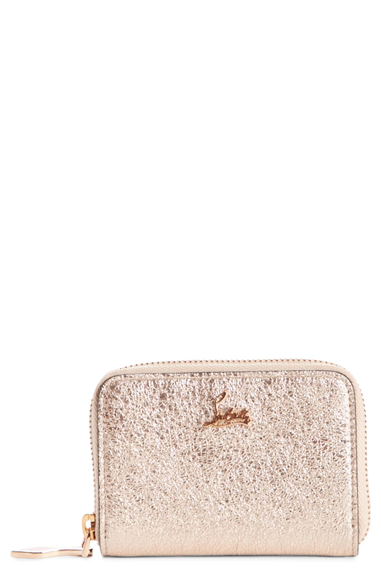 Panettone Leather Coin Purse,                         Main,                         color, Rose Gold/ Rose Gold