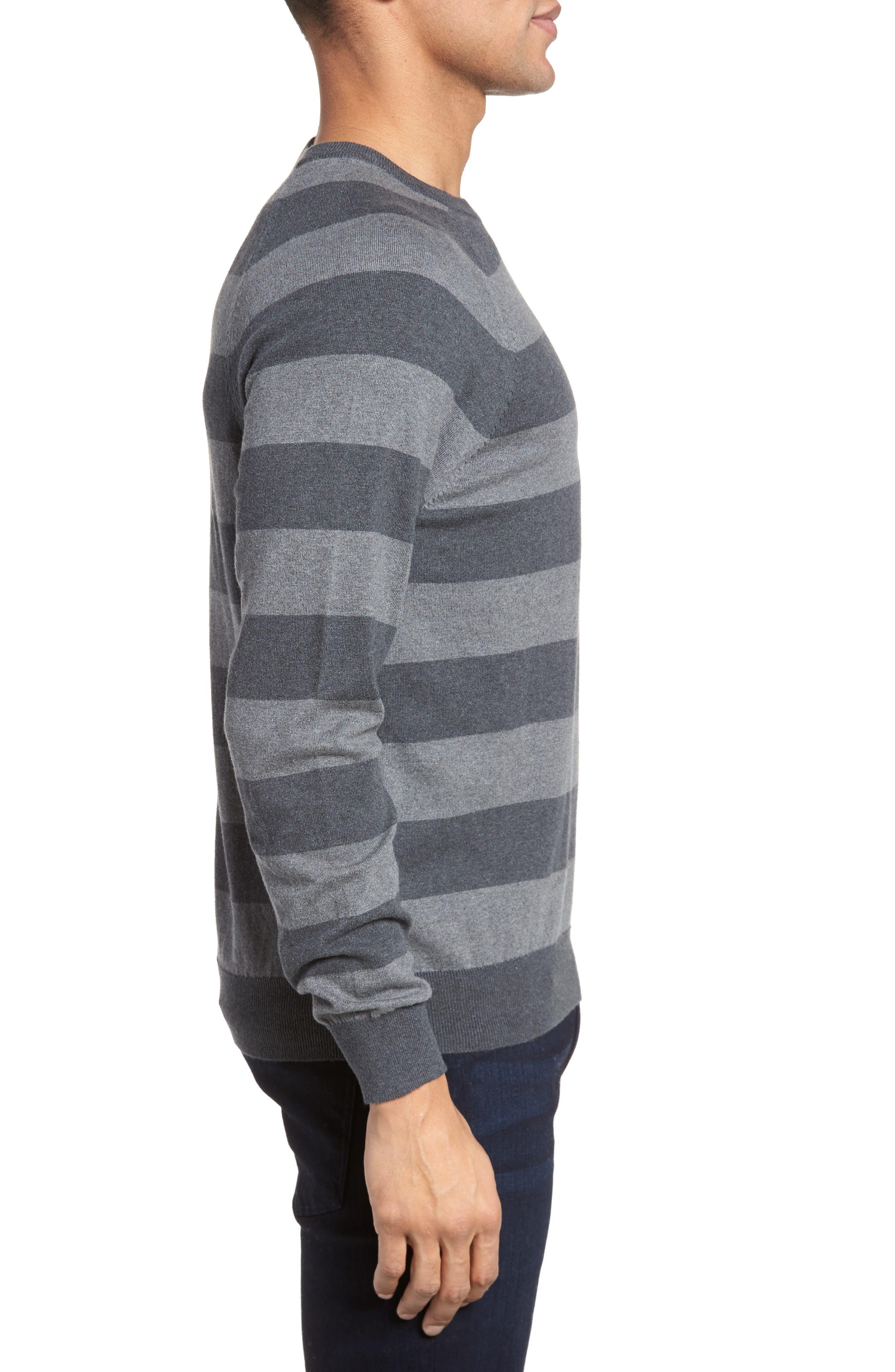 Stripe Stretch Cotton Sweater,                             Alternate thumbnail 3, color,                             Mid Grey/ Charcoal Melange