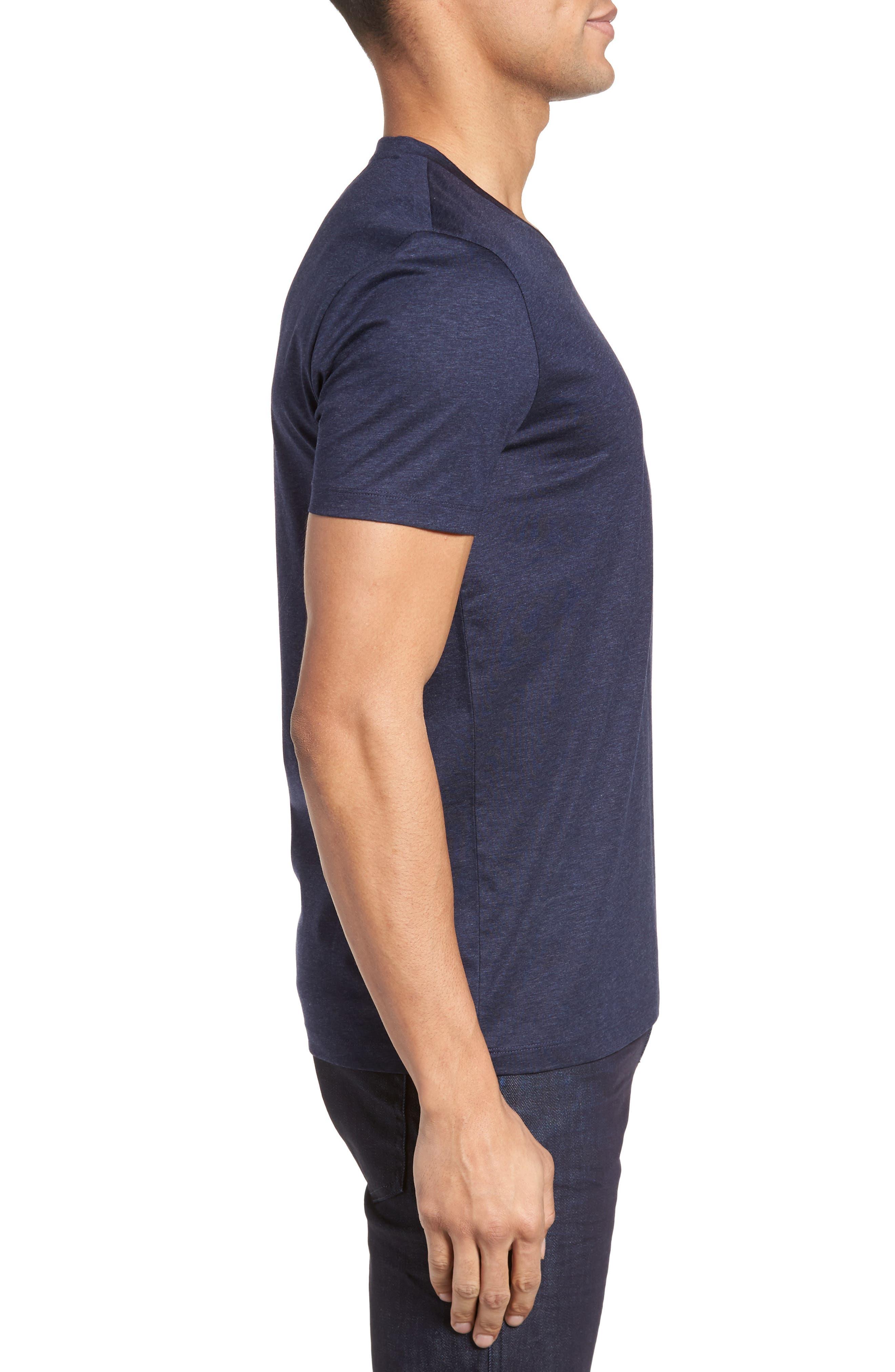 Teal Slim Fit V-Neck T-Shirt,                             Alternate thumbnail 3, color,                             Blue