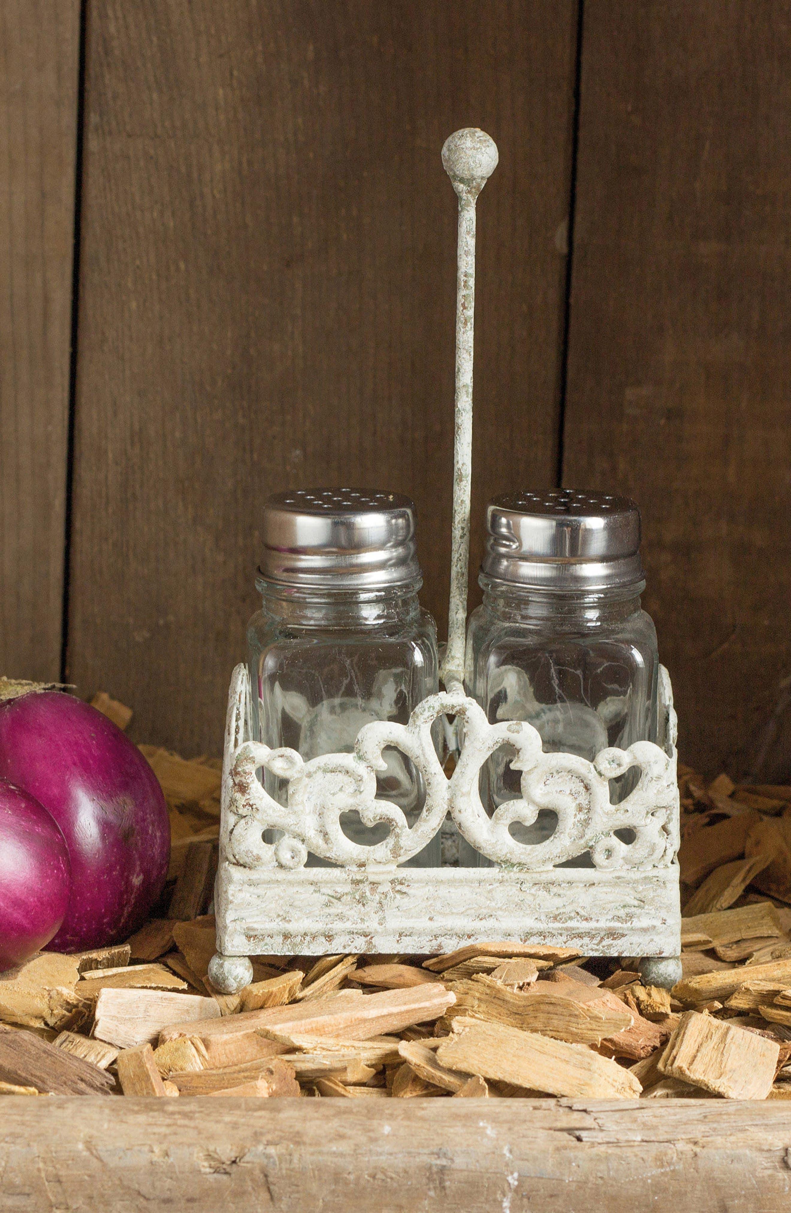 Salt & Pepper Shaker With Caddy,                             Alternate thumbnail 2, color,                             White