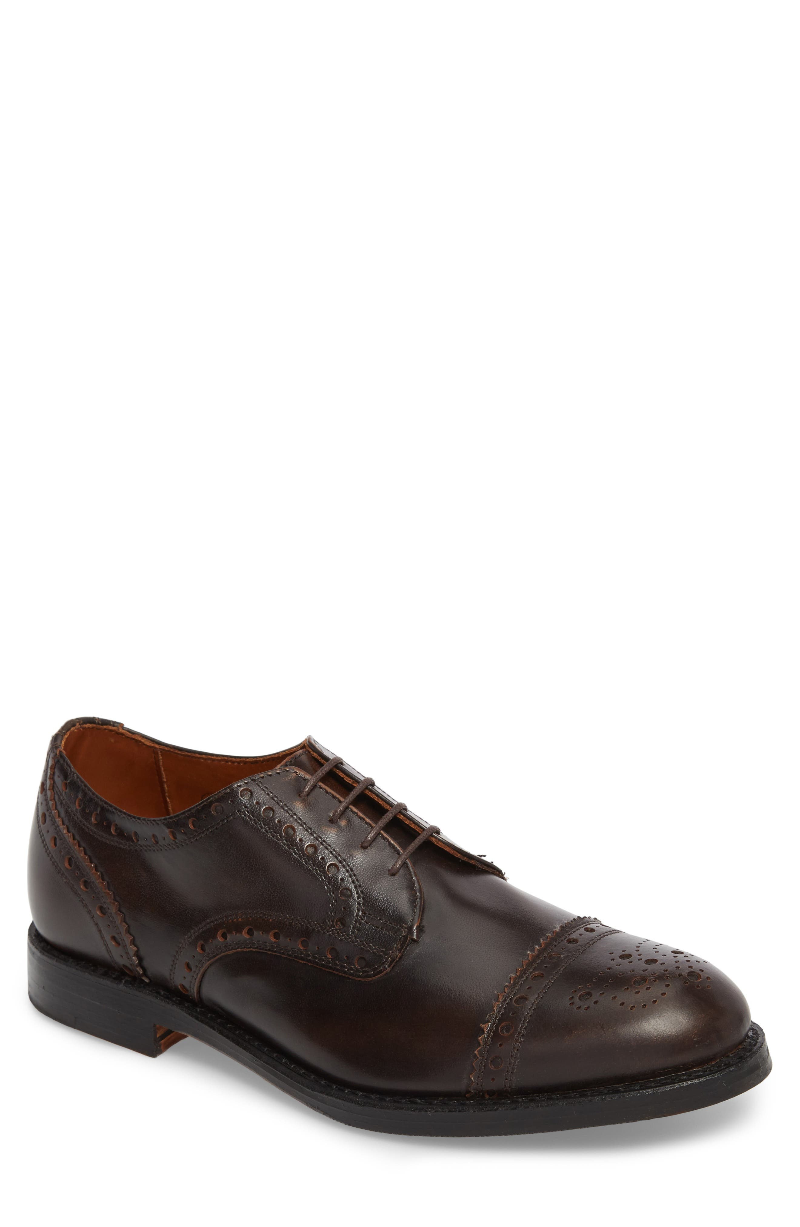 Whitney Medallion Toe Derby,                         Main,                         color, Brown Leather