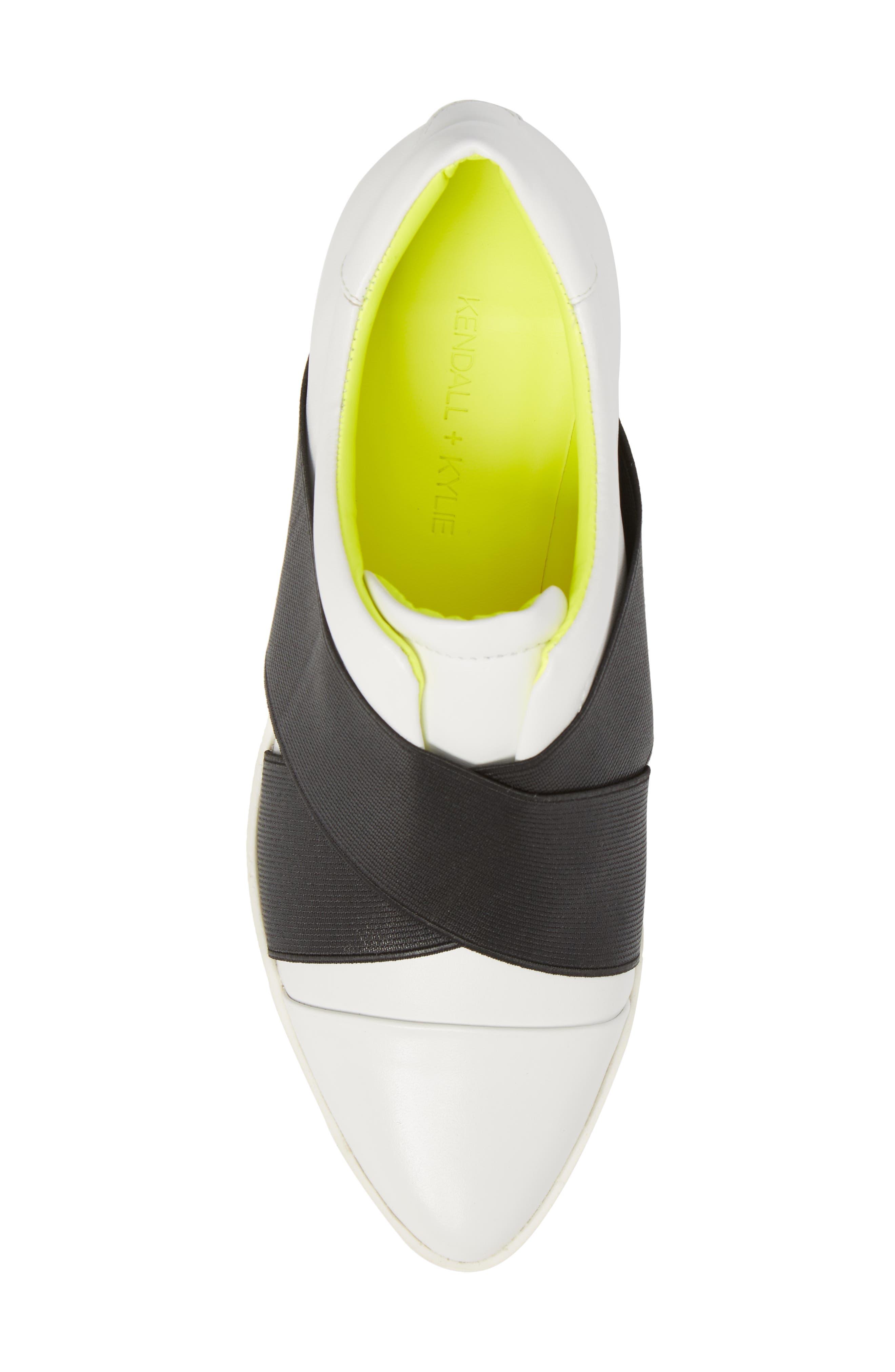 Tasha Platform Slip-On Sneaker,                             Alternate thumbnail 5, color,                             White Leather