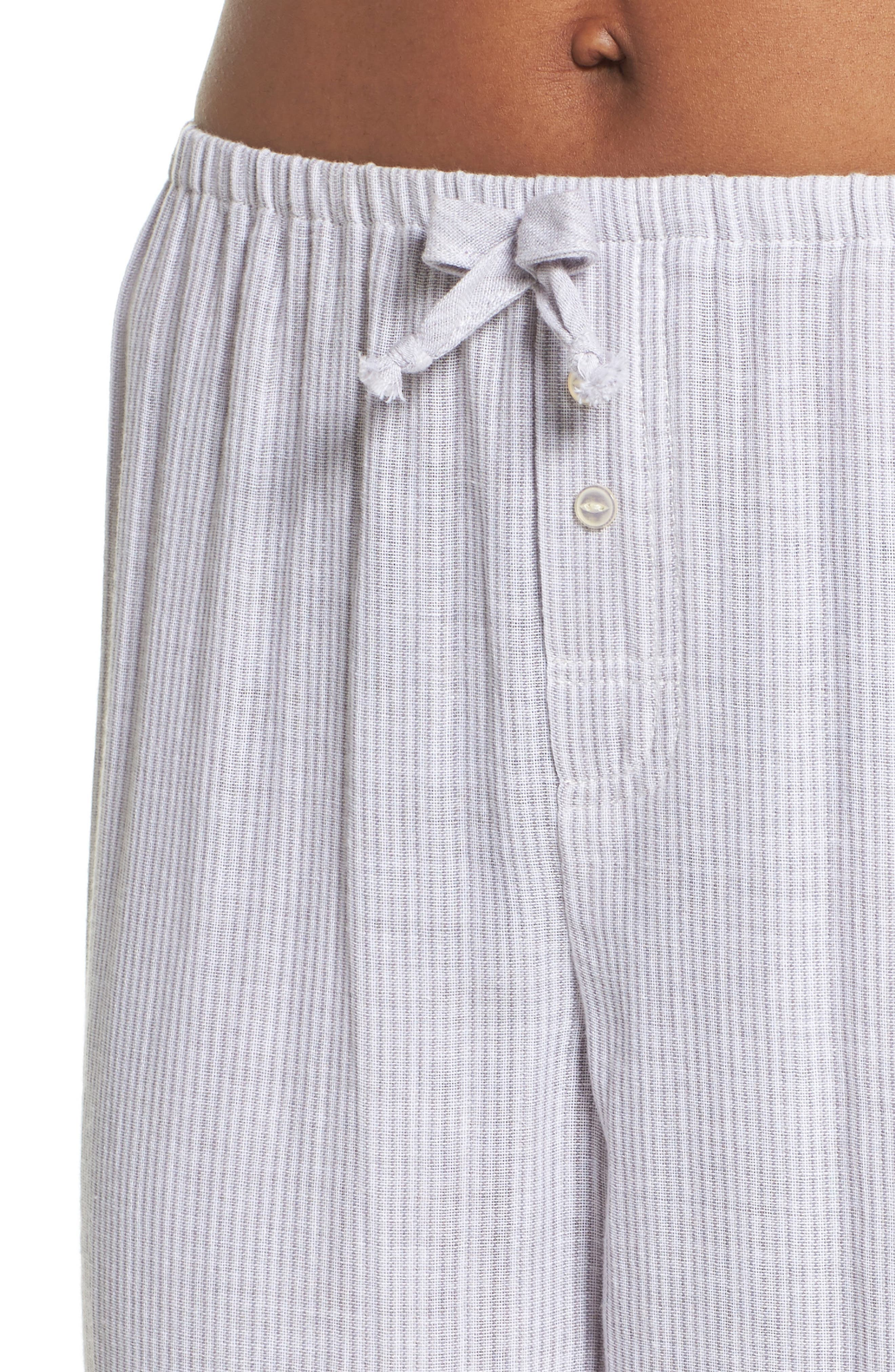 Stripe Pajama Pants,                             Alternate thumbnail 6, color,                             Grey/ White