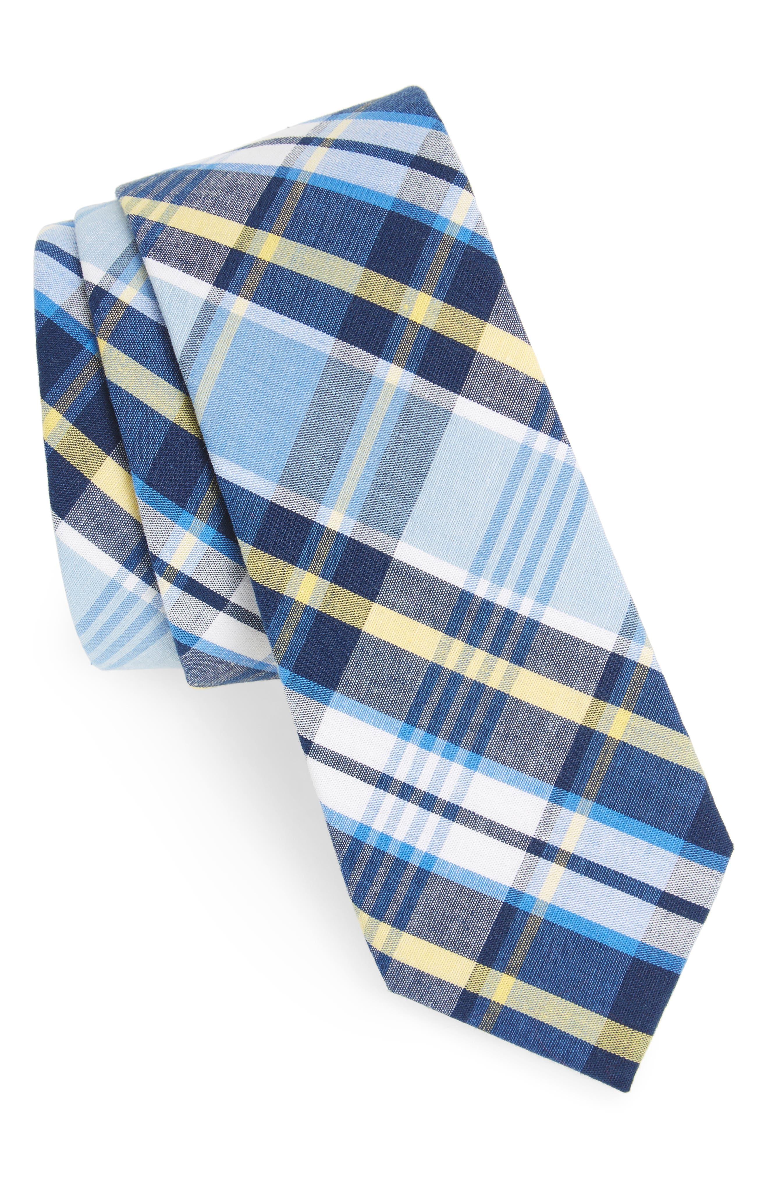 Sean Plaid Cotton Tie,                         Main,                         color, Blue
