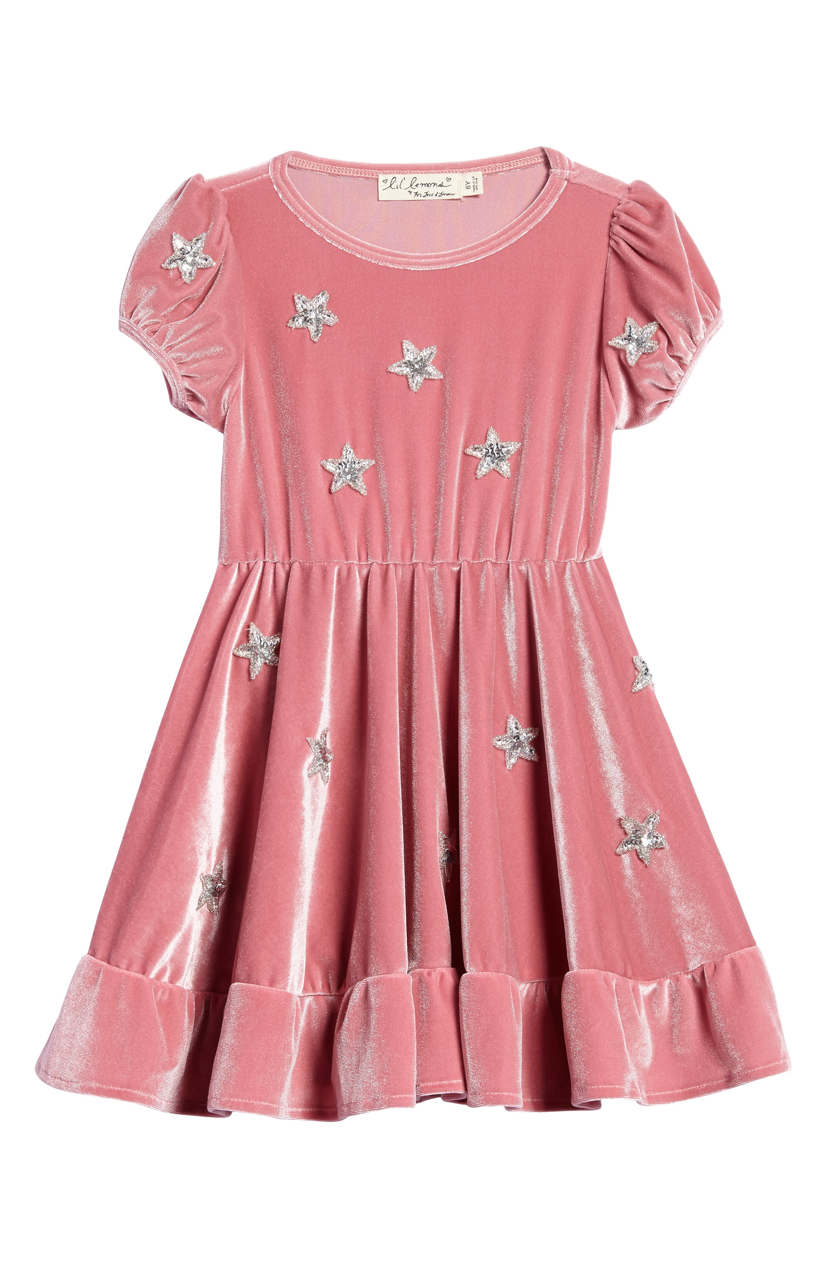 North Star Velvet Dress,                             Main thumbnail 1, color,                             Pomegranate