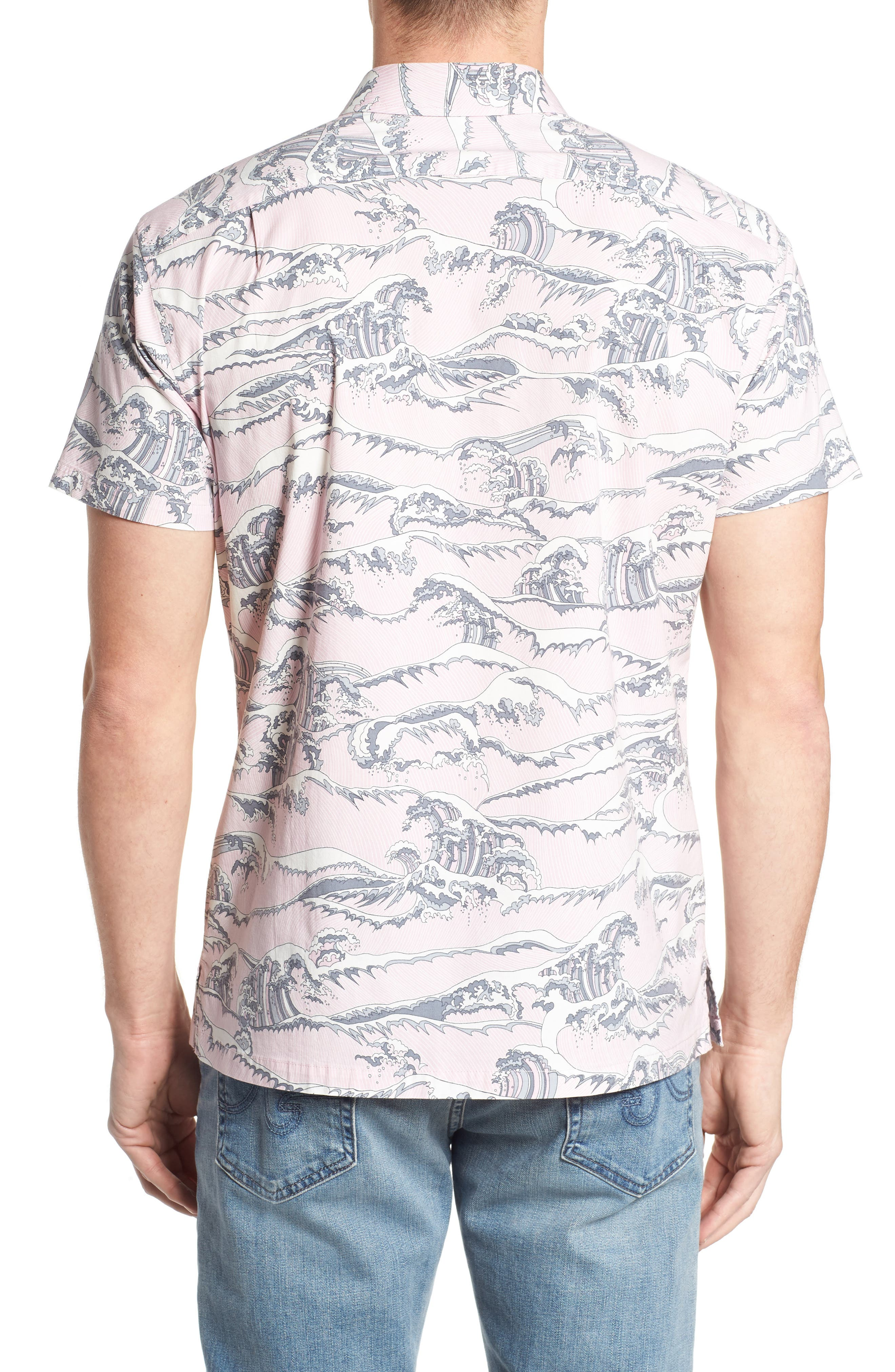 Overboard Trim Fit Print Sport Shirt,                             Alternate thumbnail 2, color,                             Pink
