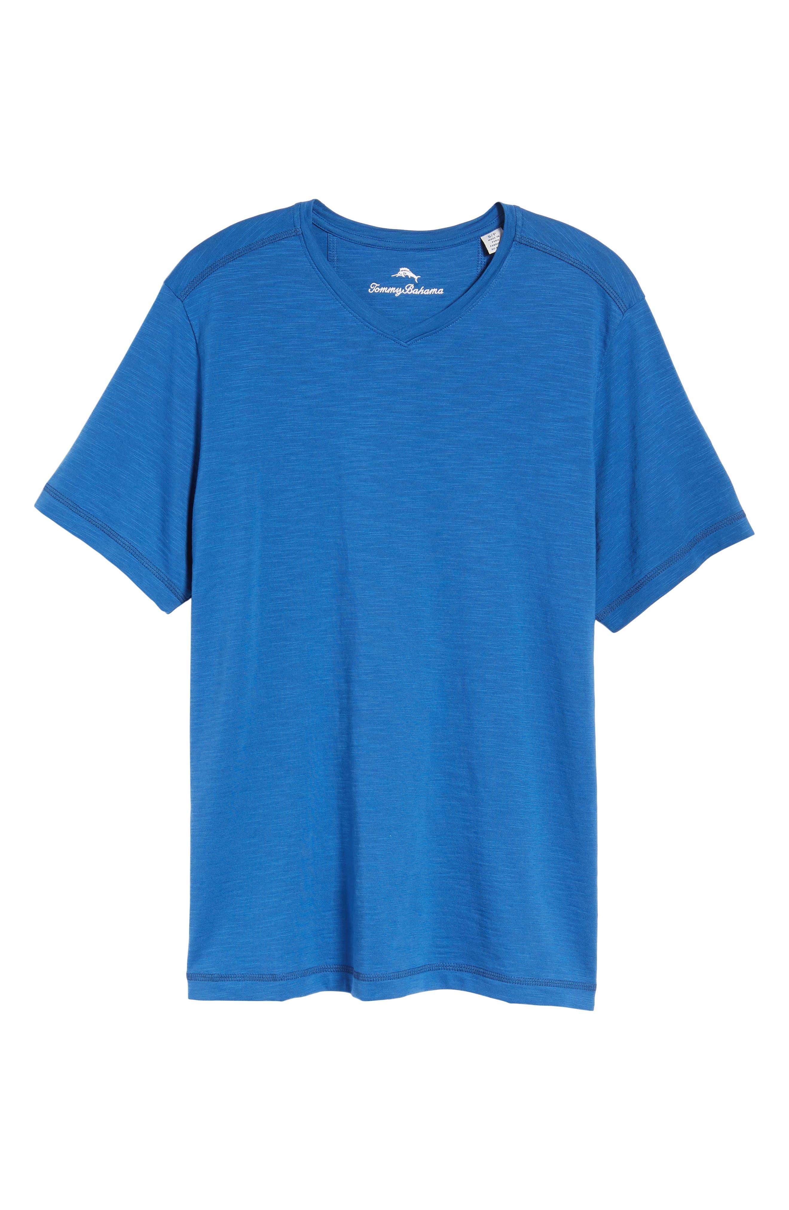 Portside Palms V-Neck T-Shirt,                             Alternate thumbnail 6, color,                             Galaxy Blue