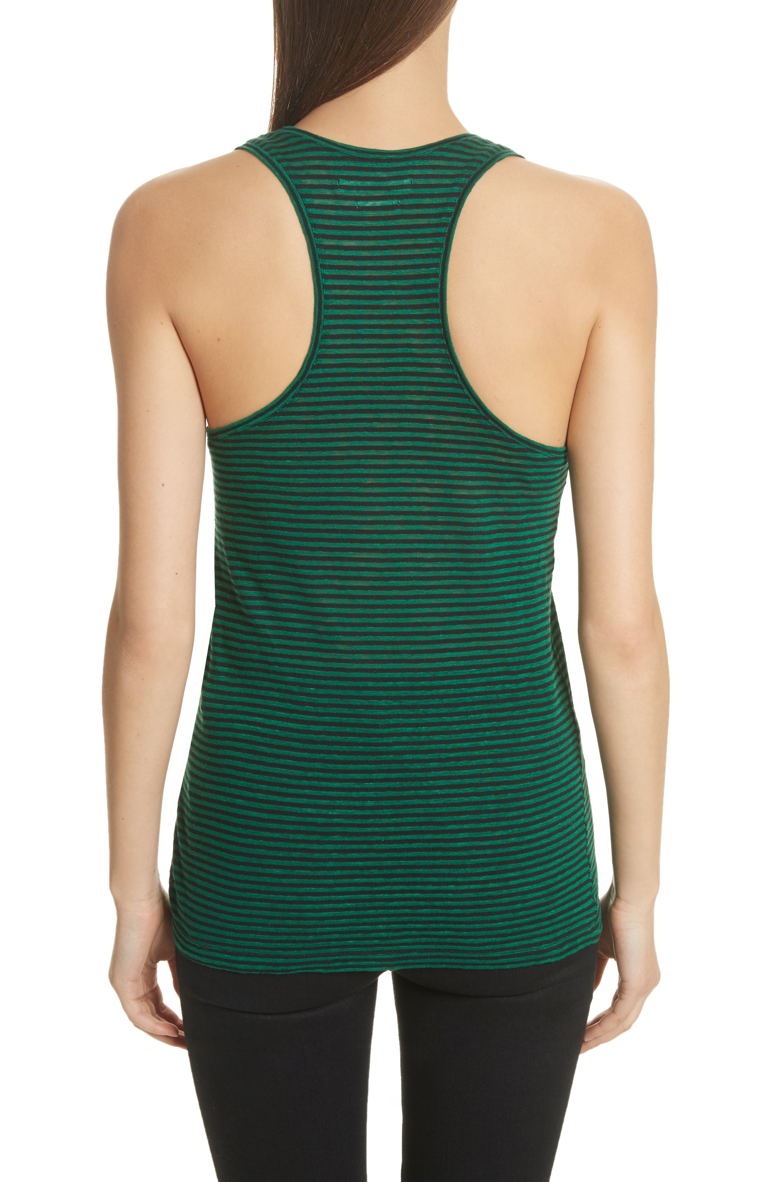 Isabel Marant Étoile Avien Stripe Cotton & Linen Tank,                             Alternate thumbnail 2, color,                             Green