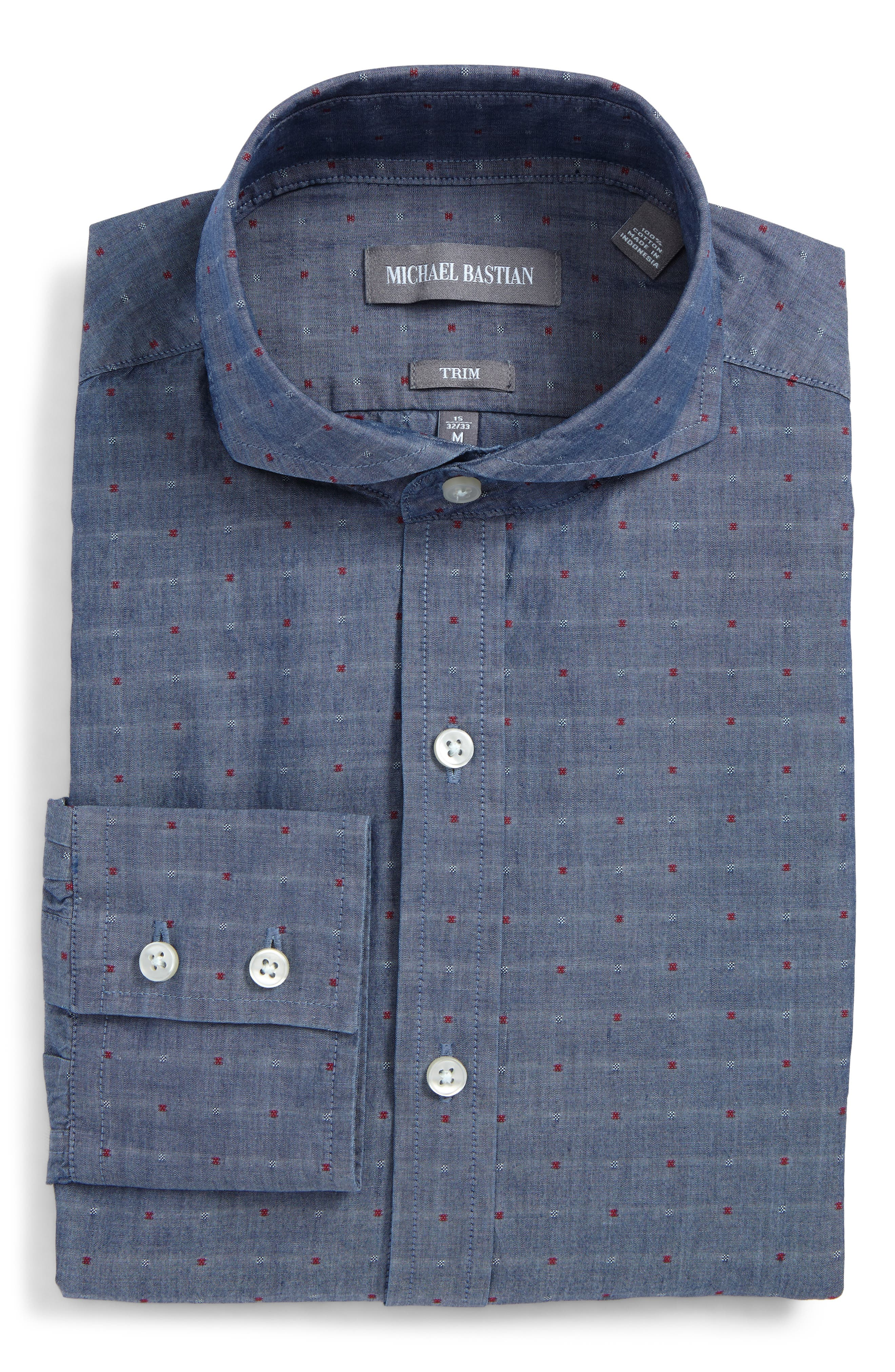 Trim Fit Dot Dress Shirt,                             Main thumbnail 1, color,                             Indigo