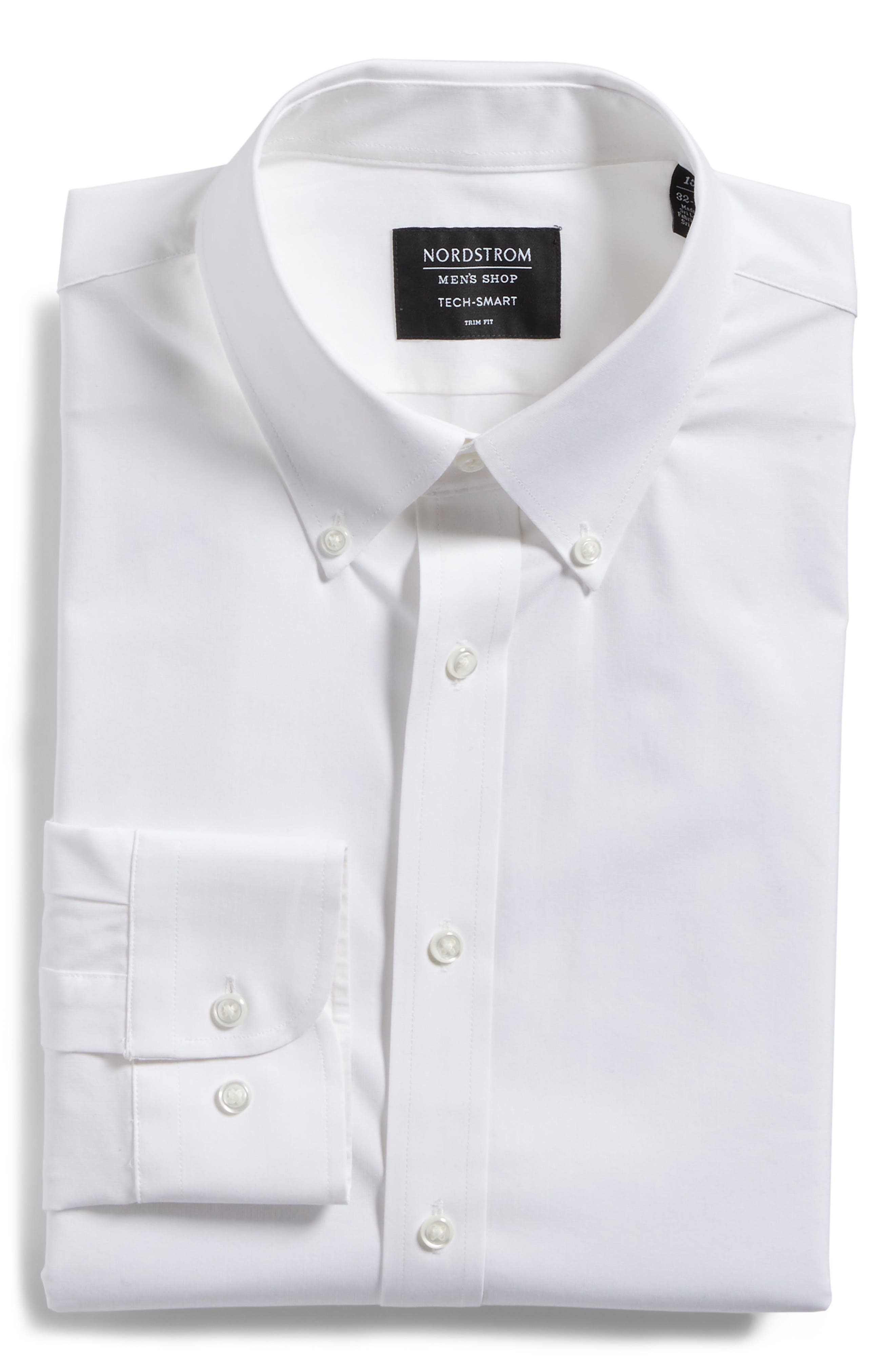 Tech-Smart Trim Fit Stretch Solid Dress Shirt,                             Alternate thumbnail 4, color,                             White
