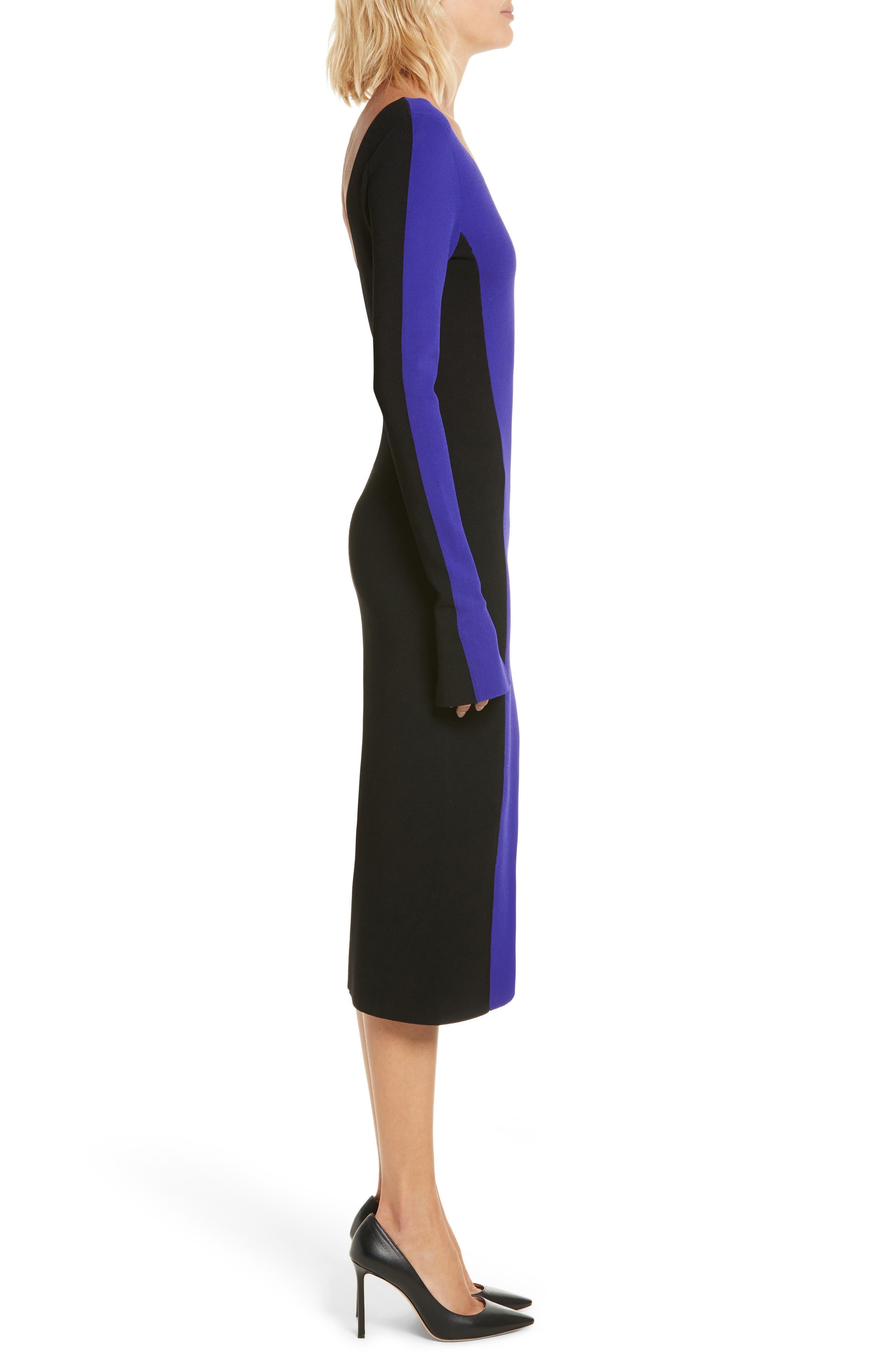 Colorblock Knit Body-Con Dress,                             Alternate thumbnail 3, color,                             Electric Blue/ Black