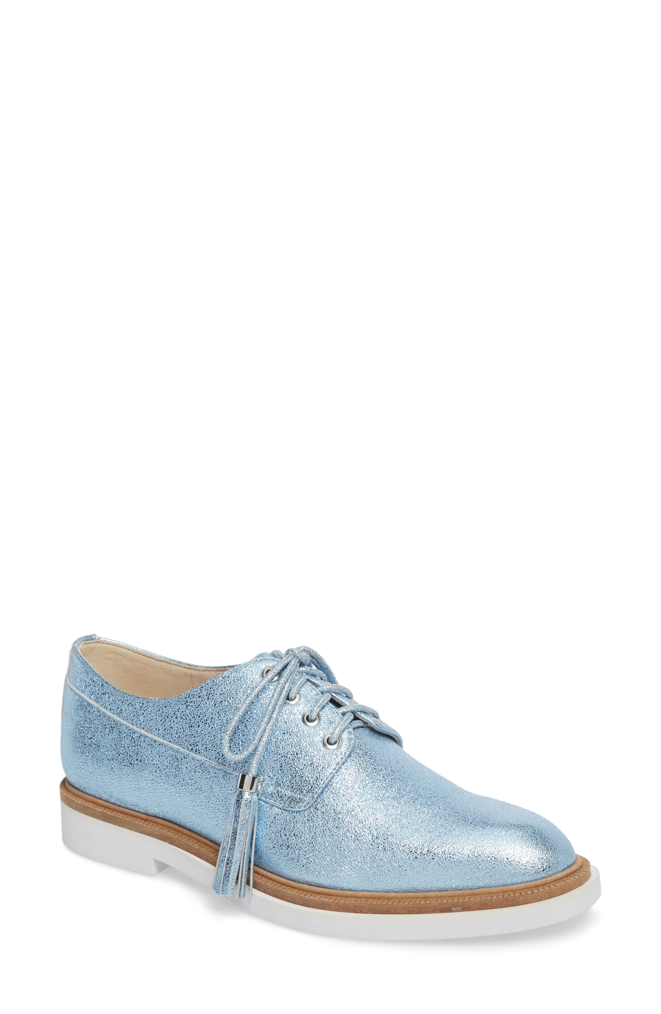 Annie Oxford,                         Main,                         color, Blue Metallic Leather