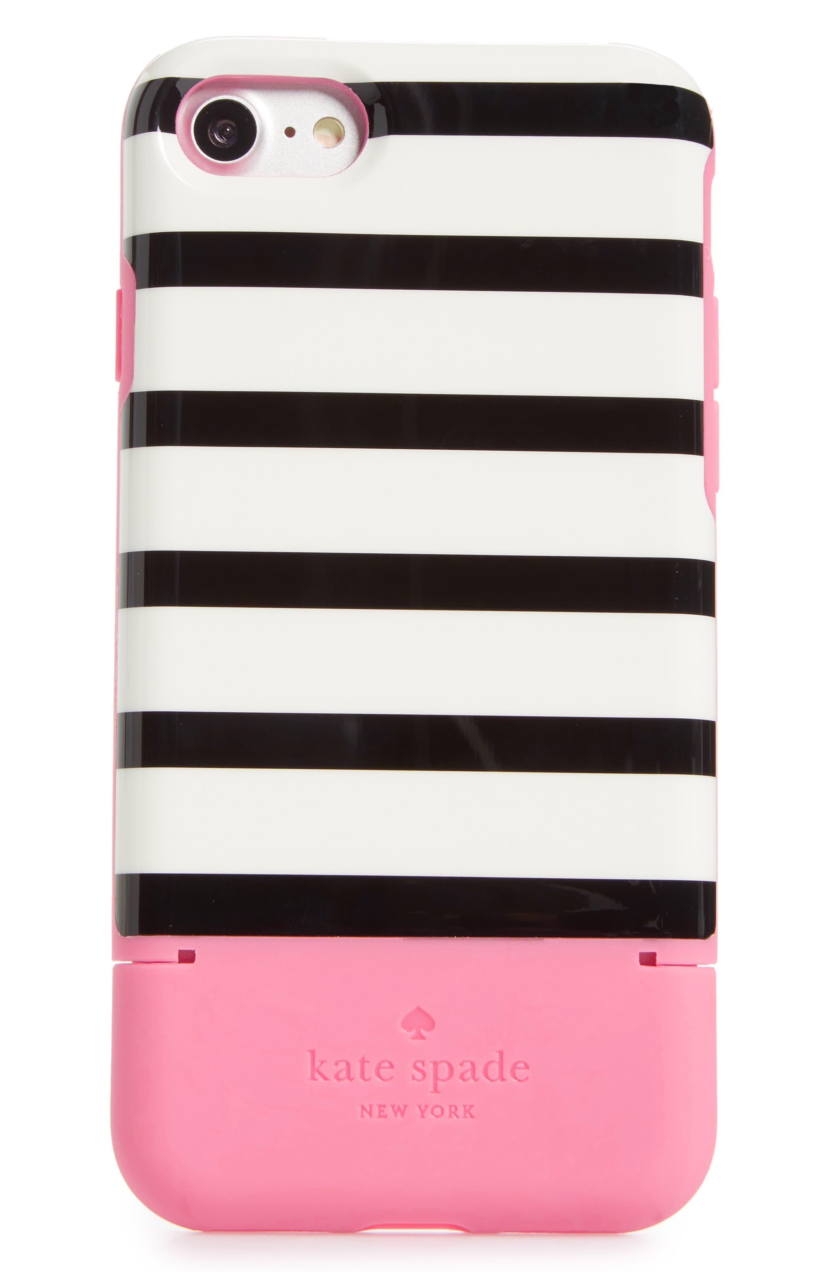 stripe credit card iPhone 7/8 & 7/8 Plus case,                         Main,                         color, Pink Multi