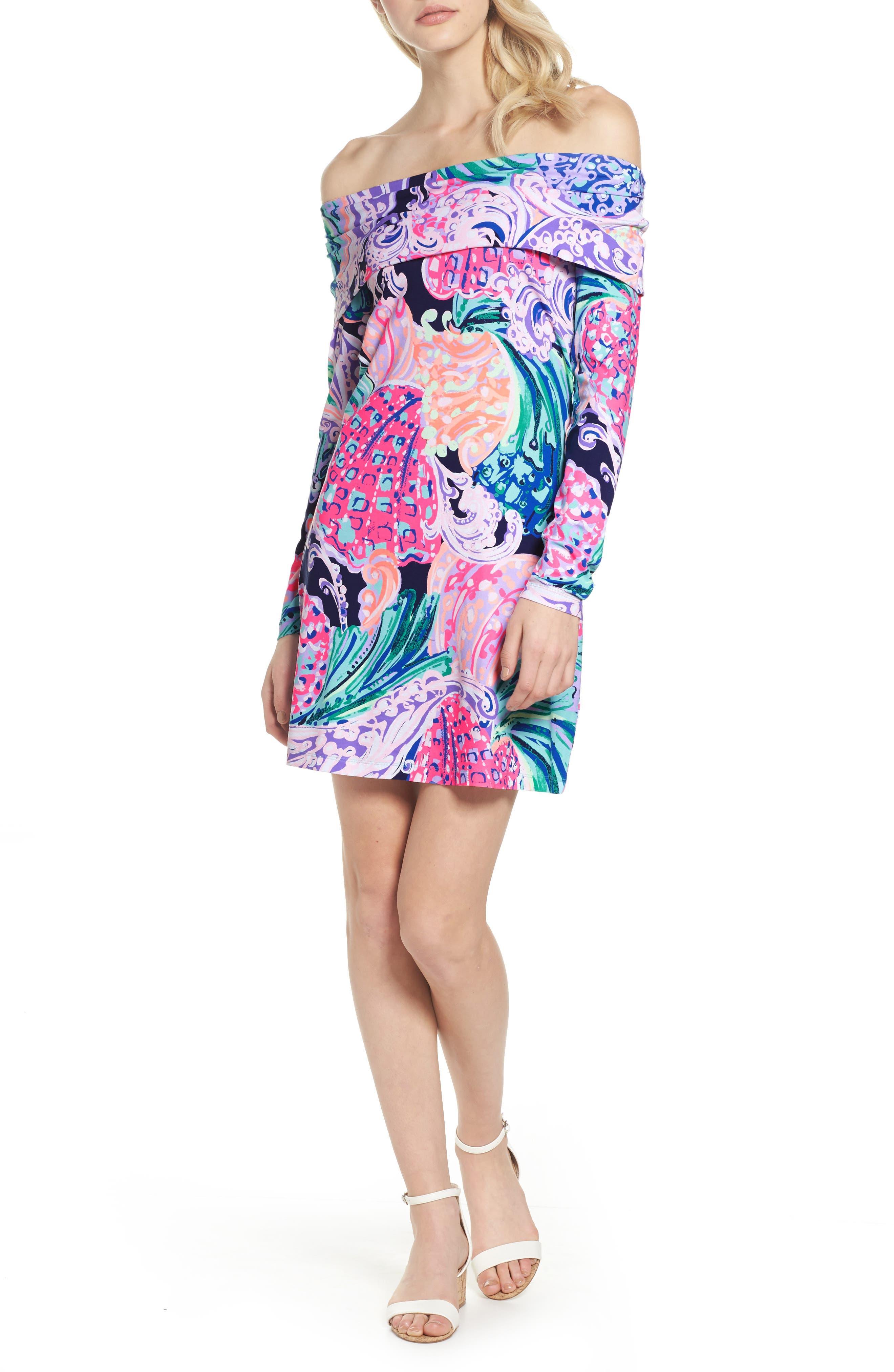 Trisha Off the Shoulder Dress,                         Main,                         color, Multi All That She Wants