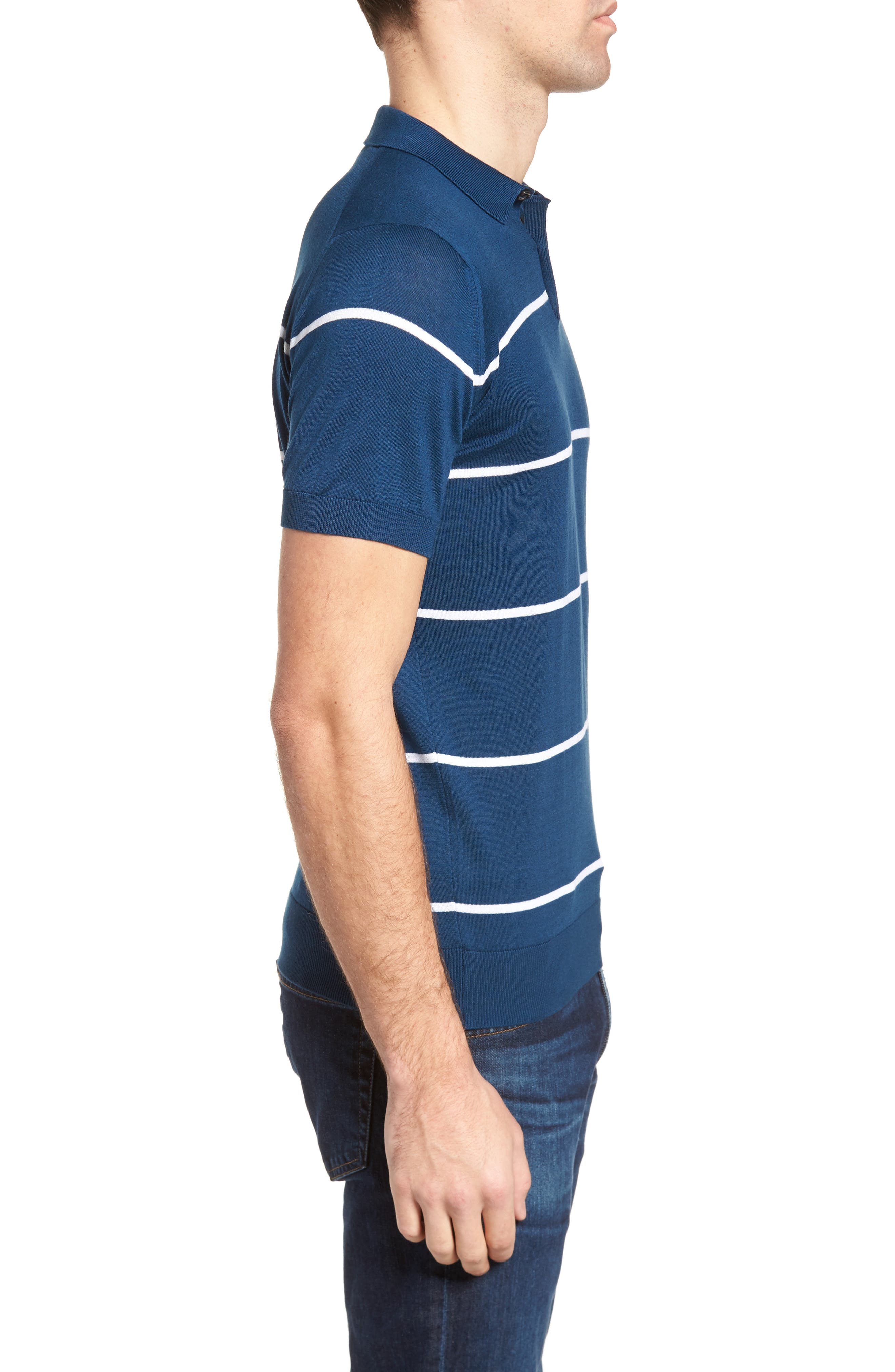 Alternate Image 3  - John Smedley Stripe Jersey Polo