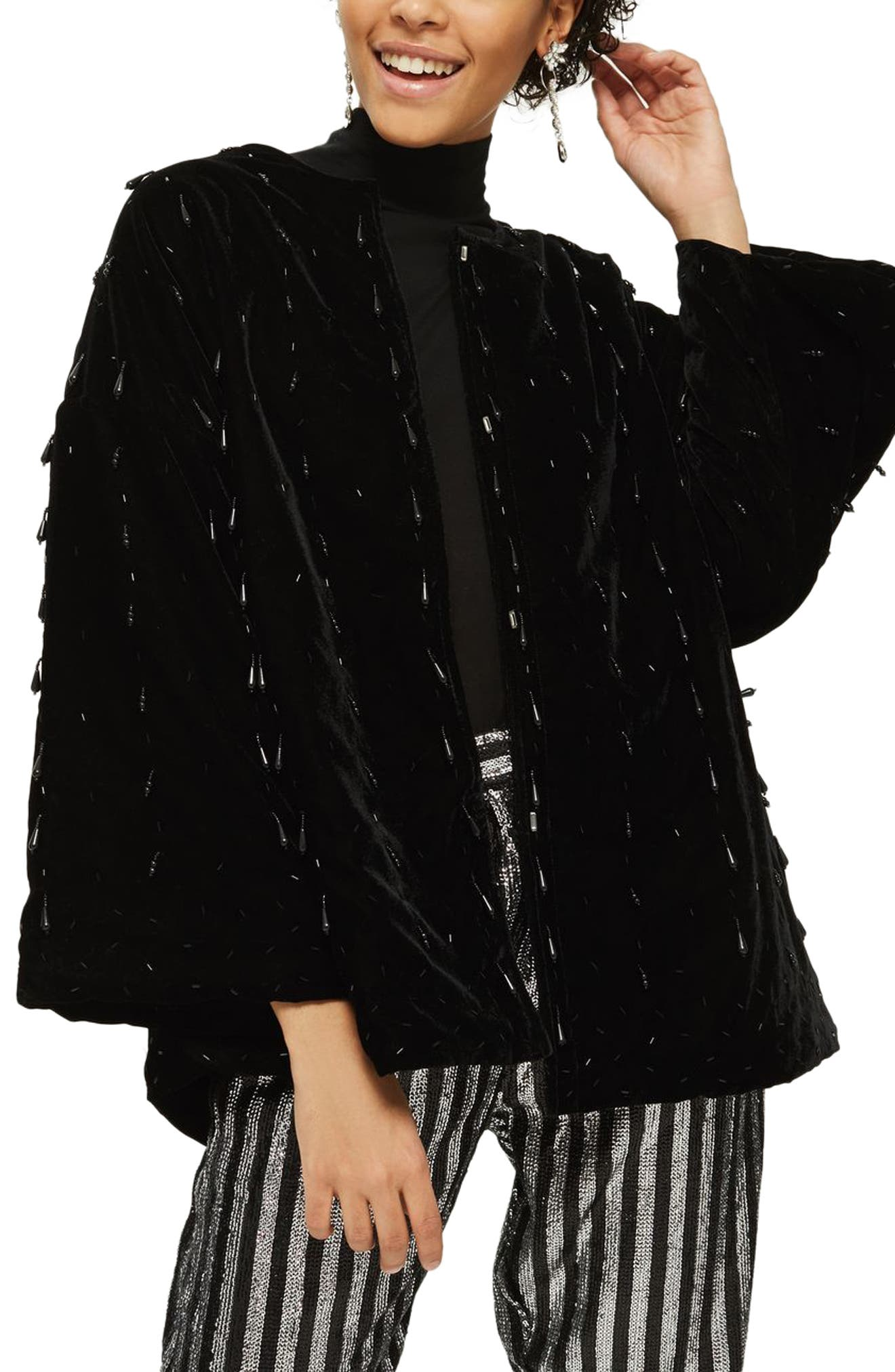 Noelle Beaded Velvet Kimono,                             Main thumbnail 1, color,                             Black