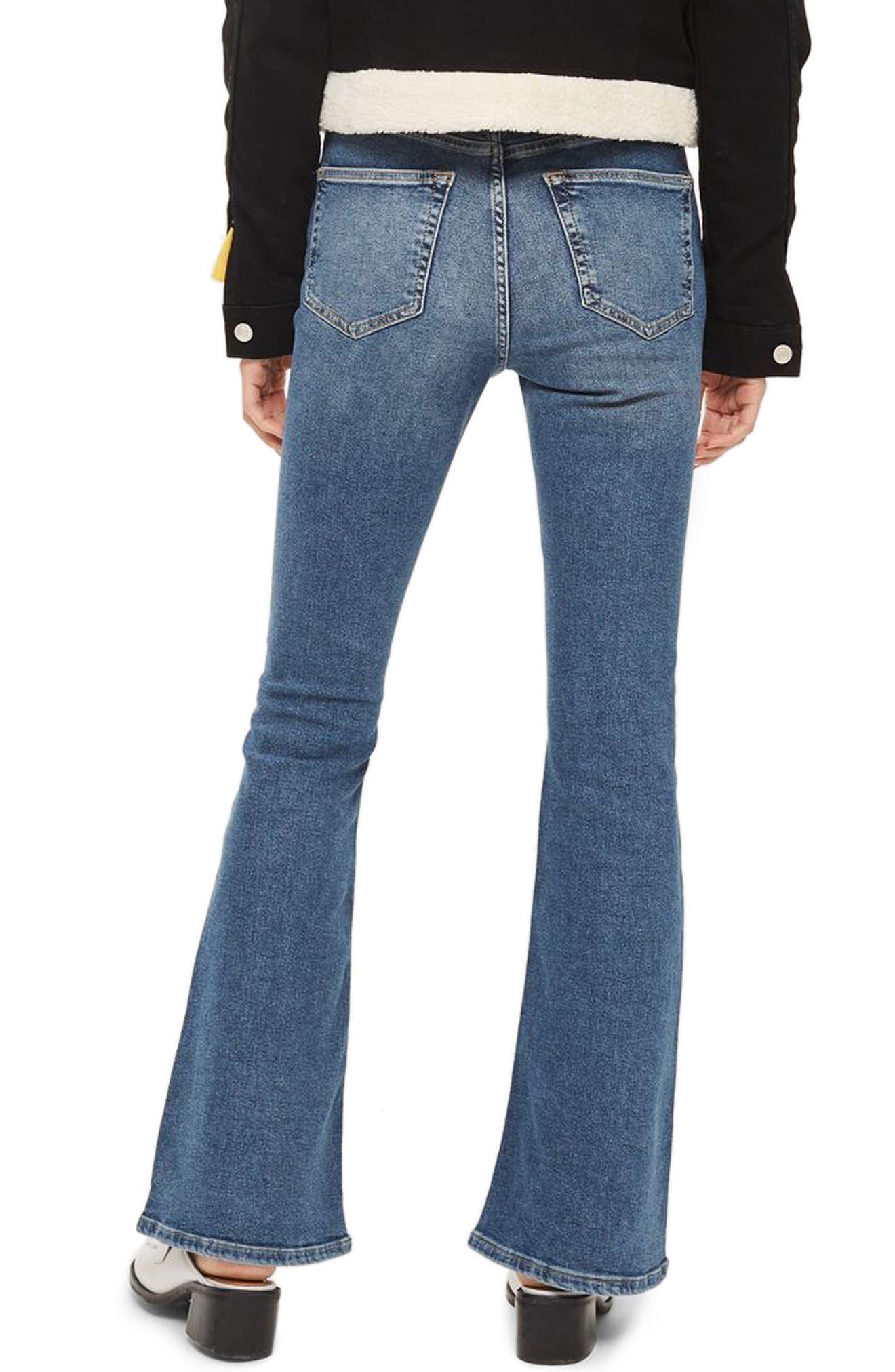 Jamie Flare Leg Jeans,                             Alternate thumbnail 2, color,                             Mid Denim
