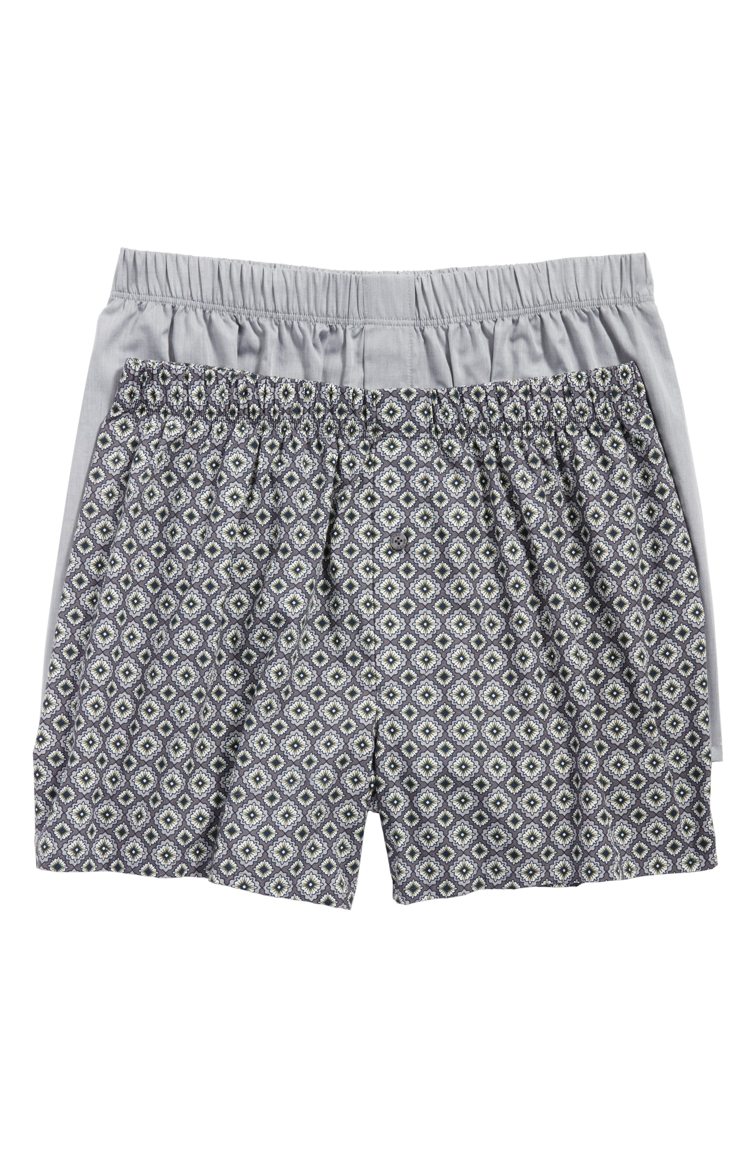 2-Pack Fancy Woven Boxers,                             Main thumbnail 1, color,                             Grey/ Squared Flowers
