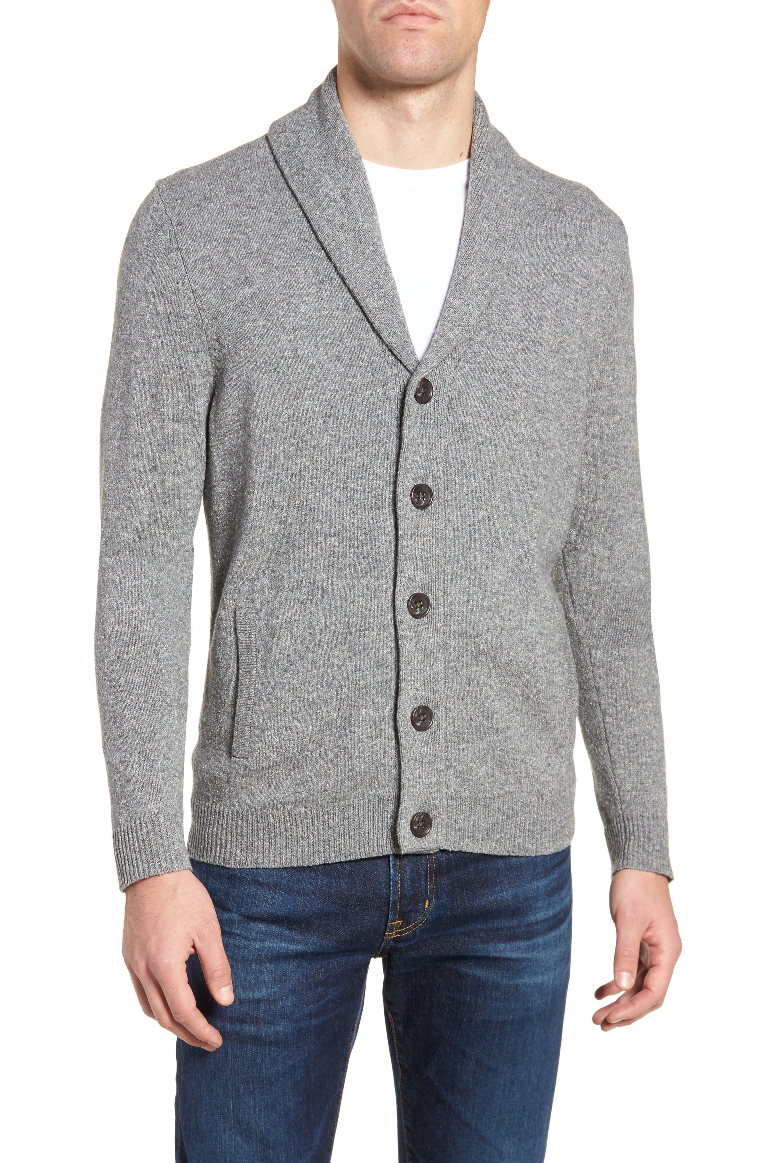 Shawl Collar Cardigan,                         Main,                         color, Grey Shade Nep
