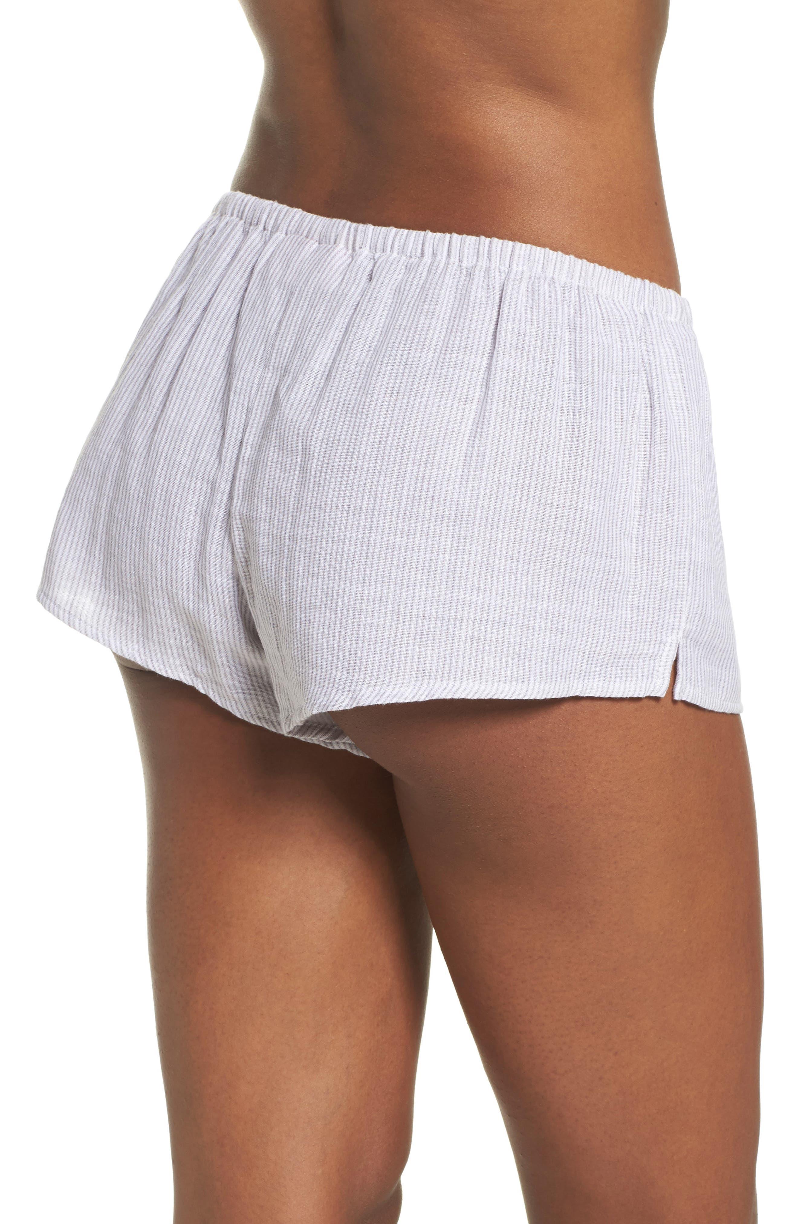Stripe Pajama Shorts,                             Alternate thumbnail 2, color,                             Grey/ White