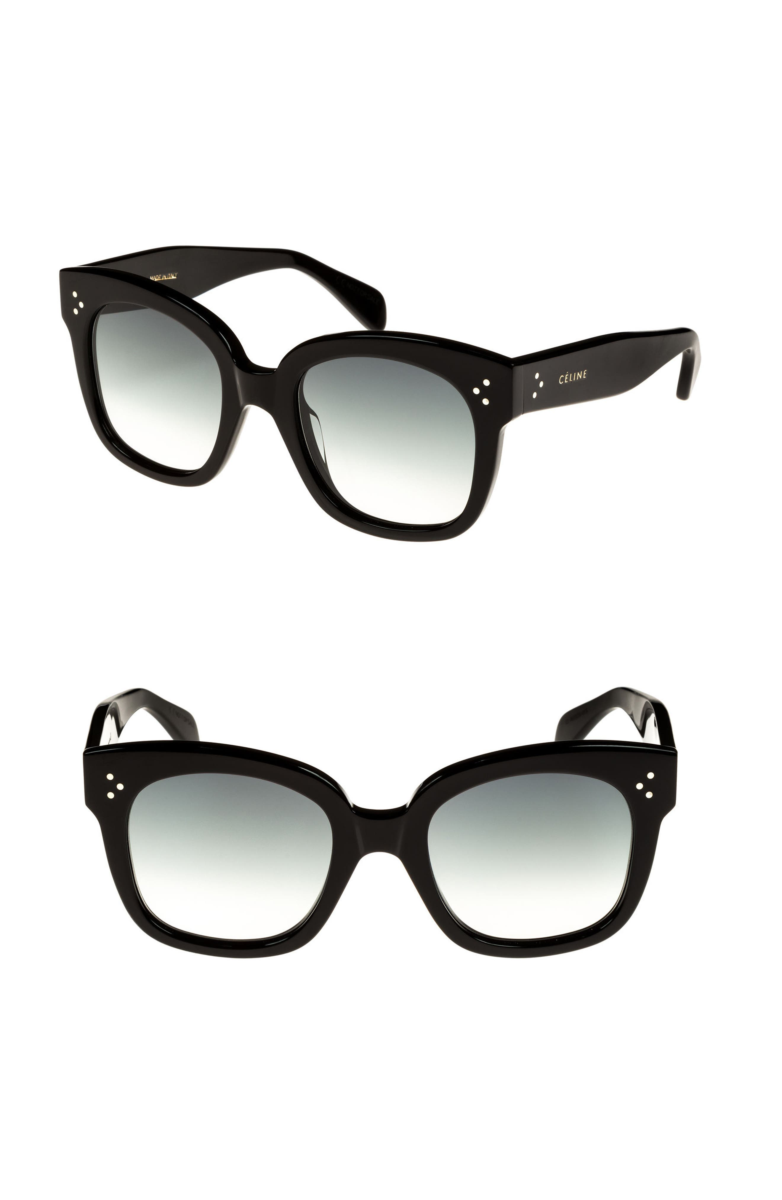 54mm Square Sunglasses,                             Main thumbnail 1, color,                             Black/ Smoke