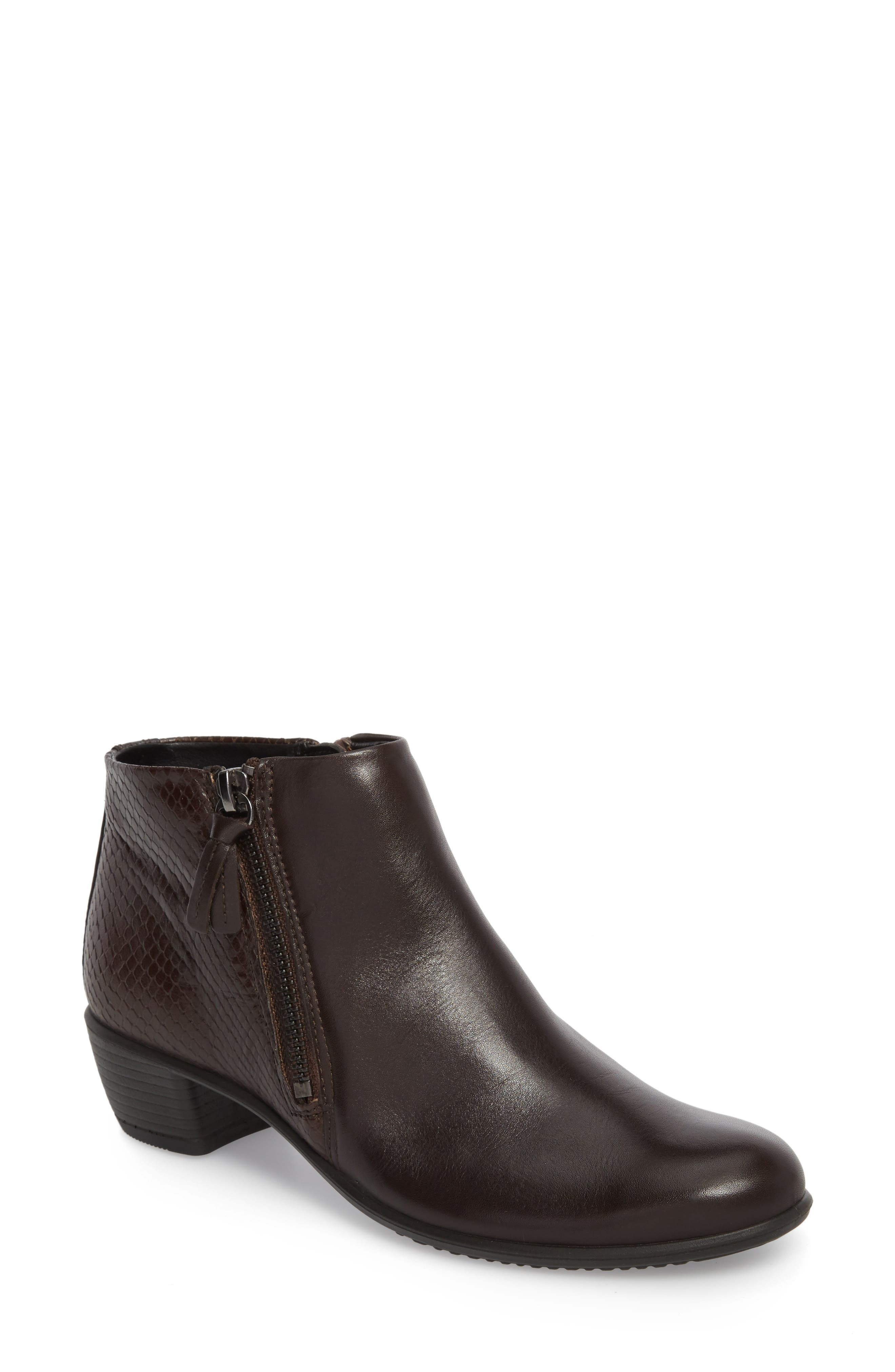 'Touch' Zip Bootie,                             Main thumbnail 1, color,                             Coffee Leather