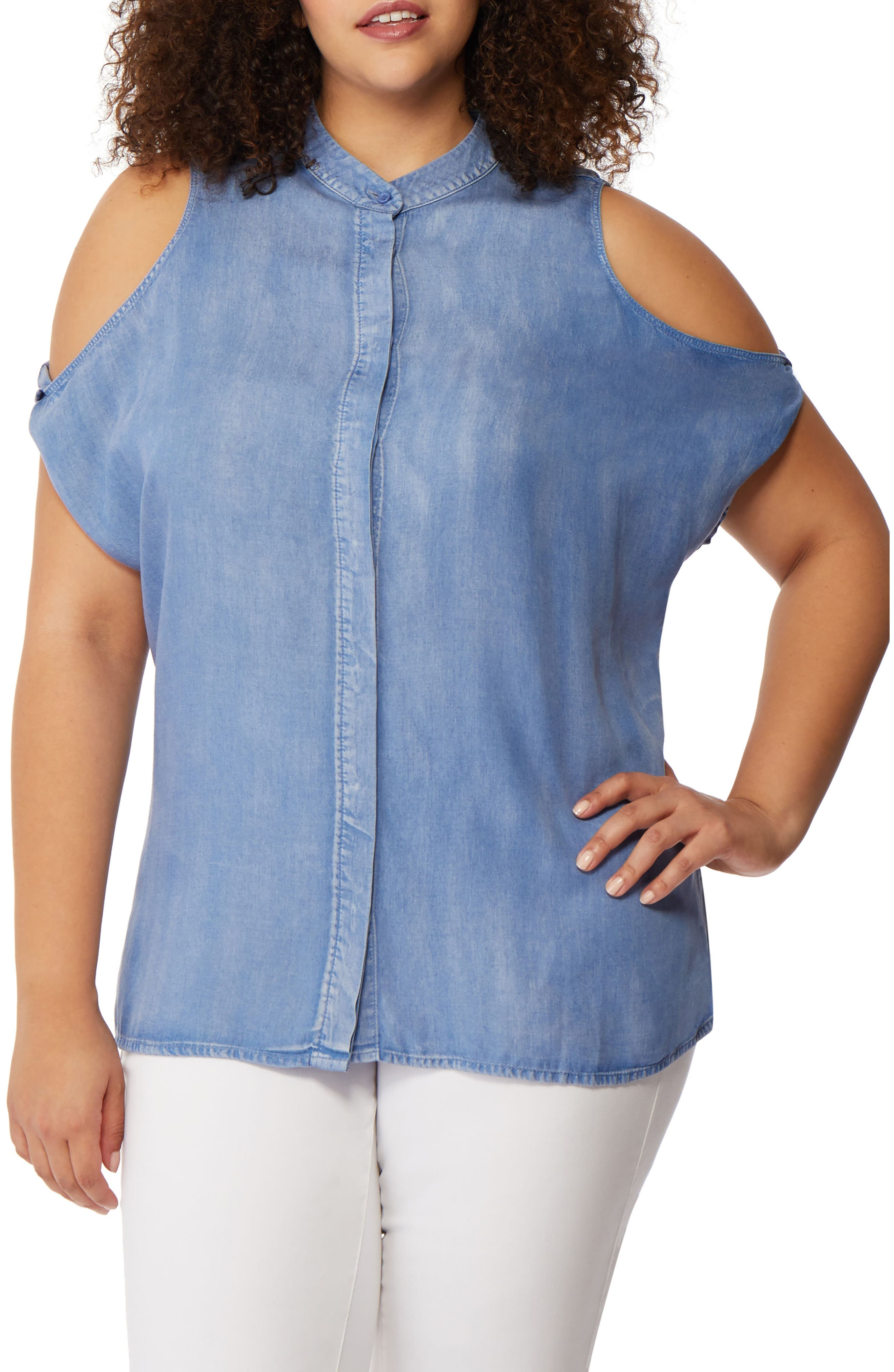 Cold Shoulder Button Front Top,                         Main,                         color, Chambray