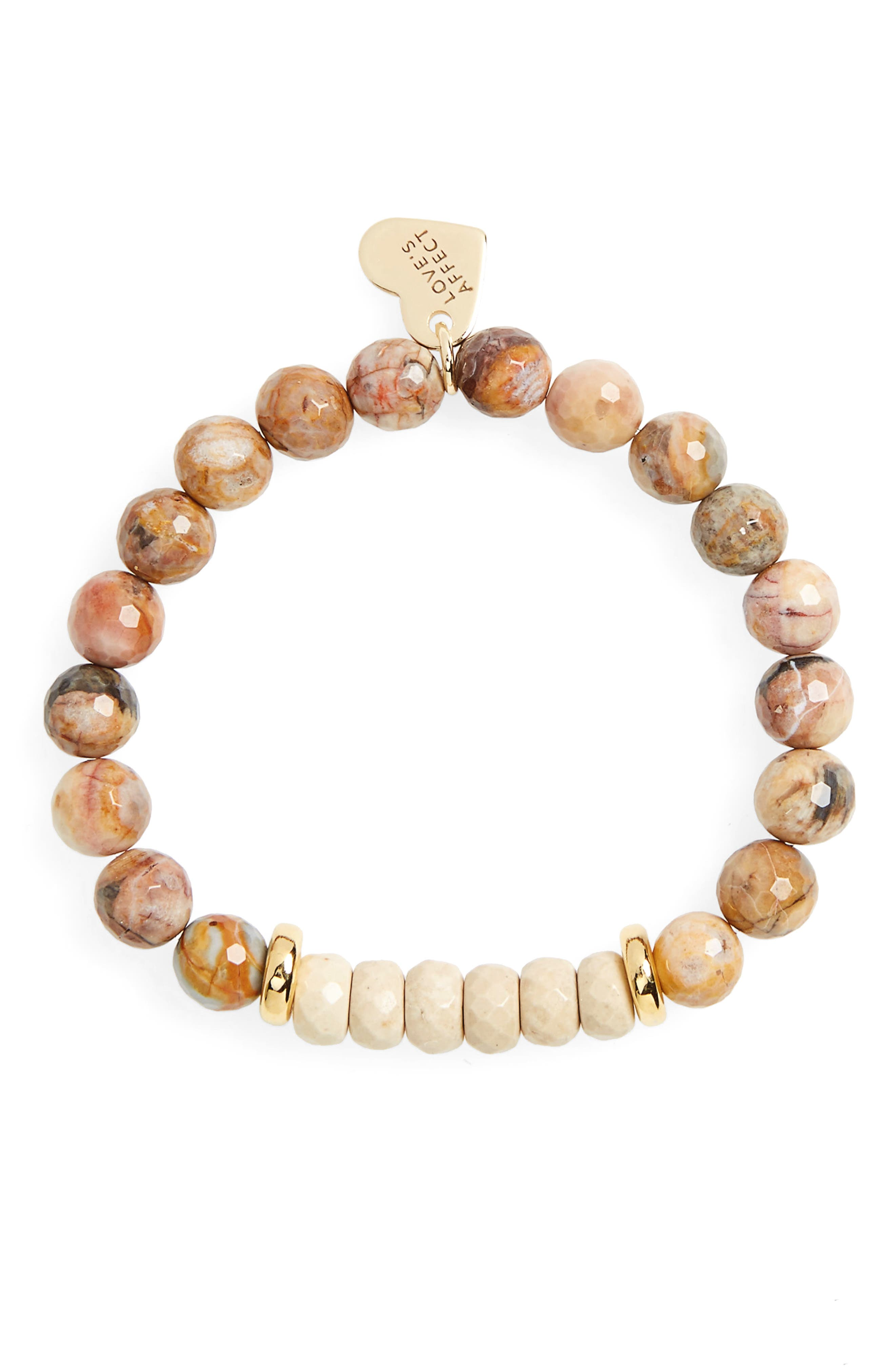 Love's Affect Carly Semiprecious Stretch Bracelet,                             Main thumbnail 1, color,                             Brown