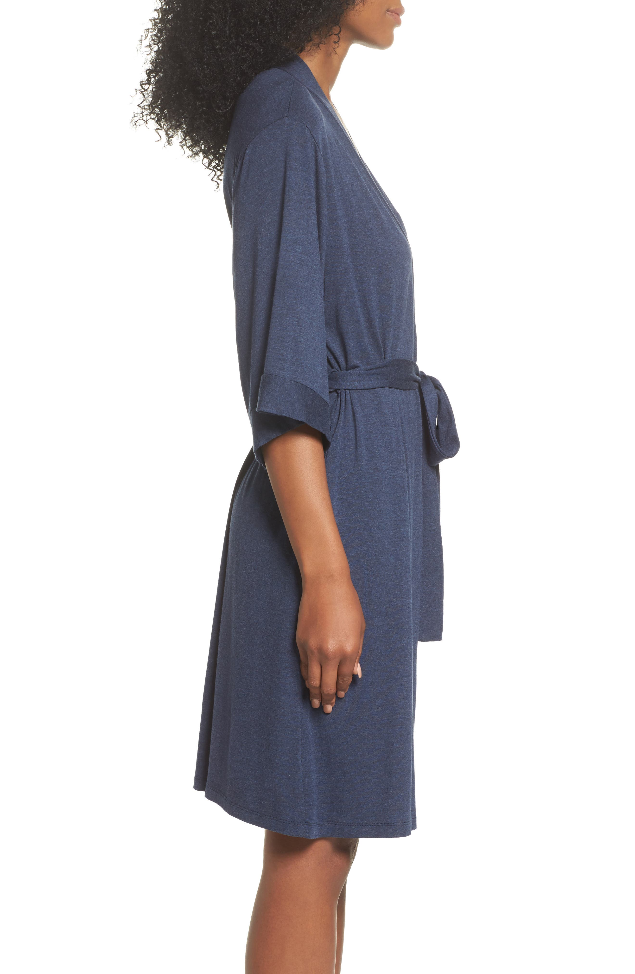 Jersey Robe,                             Alternate thumbnail 3, color,                             Navy