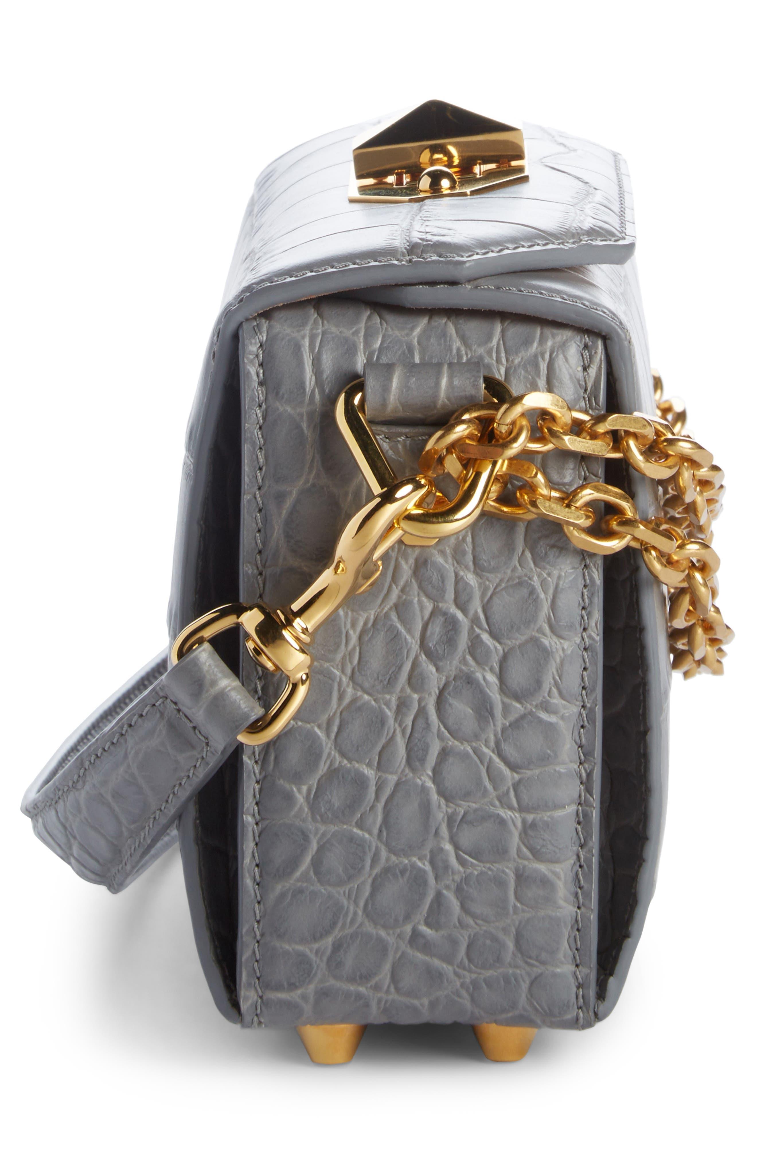 Alternate Image 4  - Alexander McQueen Mini Box Croc-Embossed Leather Bag