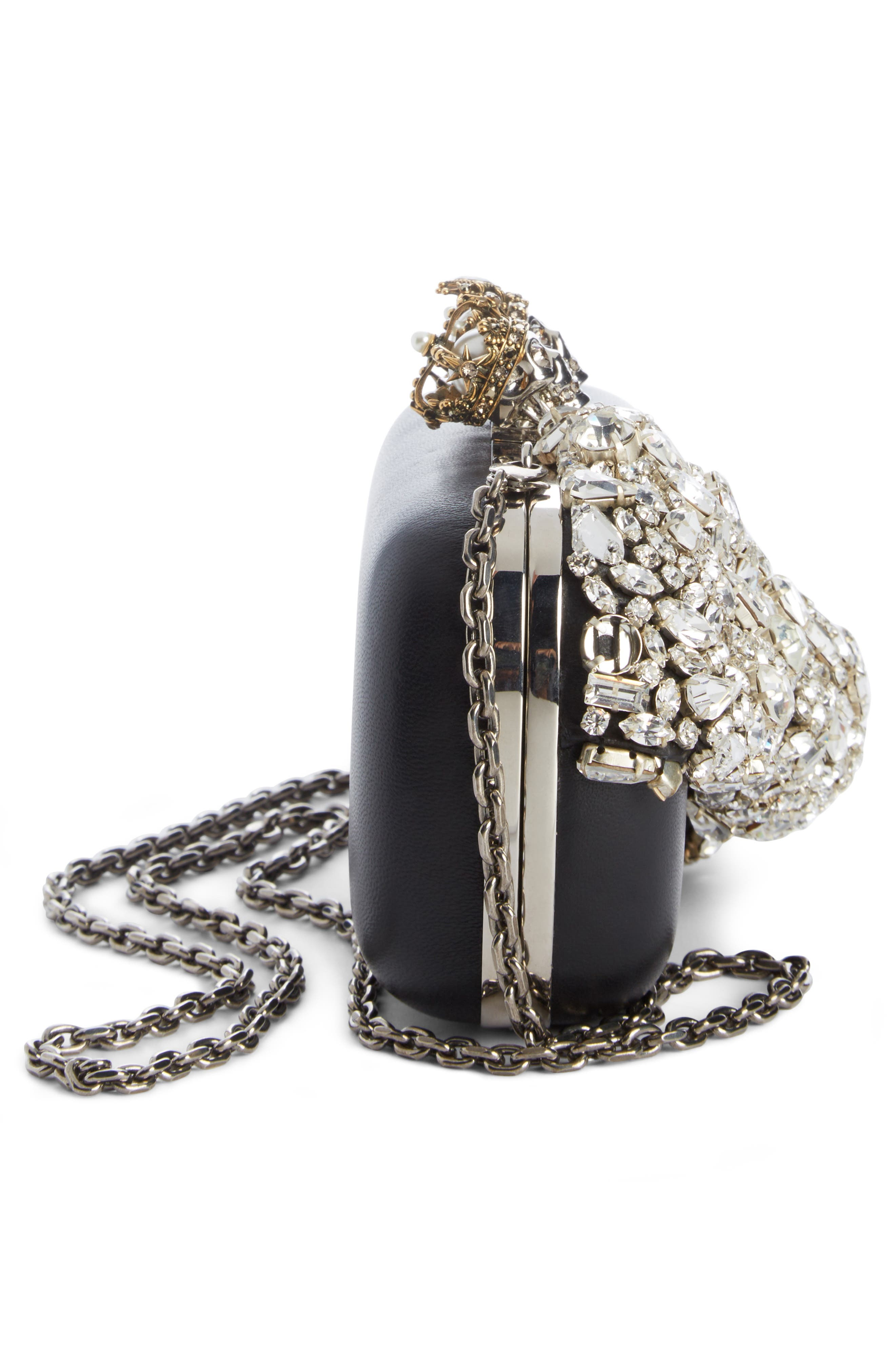 Queen & King Crystal Bow Clutch,                             Alternate thumbnail 3, color,                             Black
