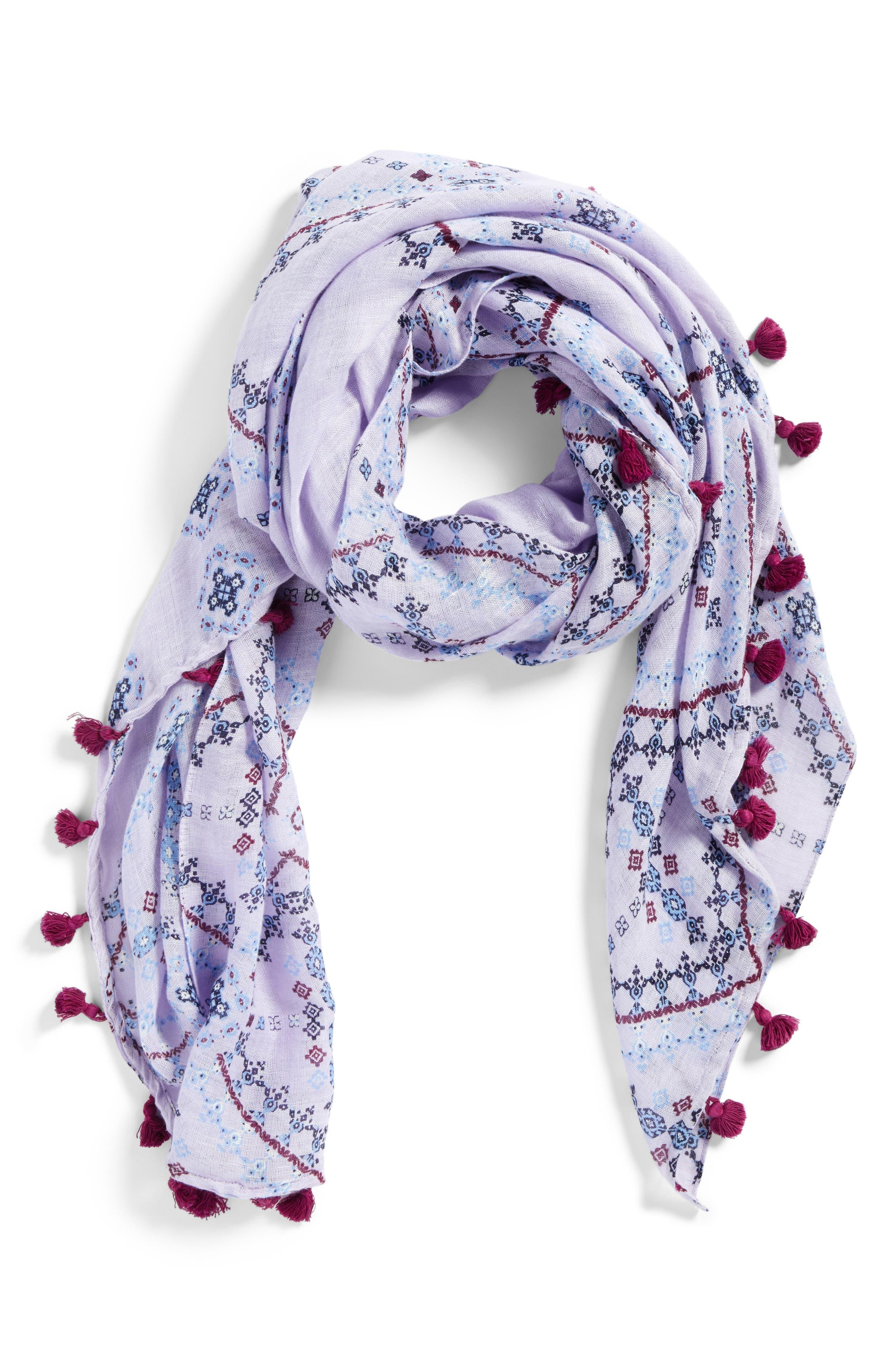 Tassel Scarf,                             Alternate thumbnail 2, color,                             Purple Vintage Tapestry