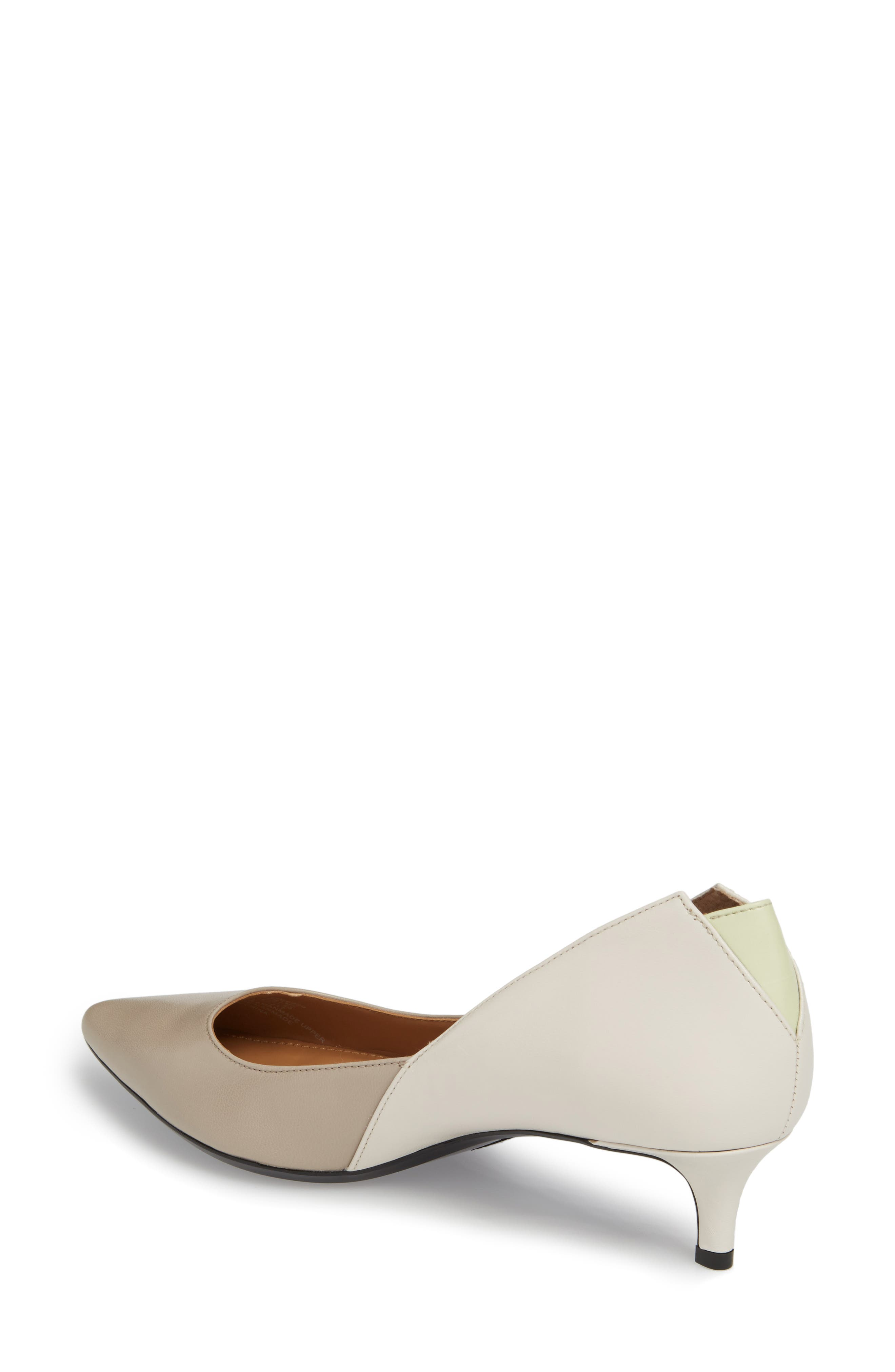 Grayce Pointy Toe Pump,                             Alternate thumbnail 2, color,                             Clay/ White Leather