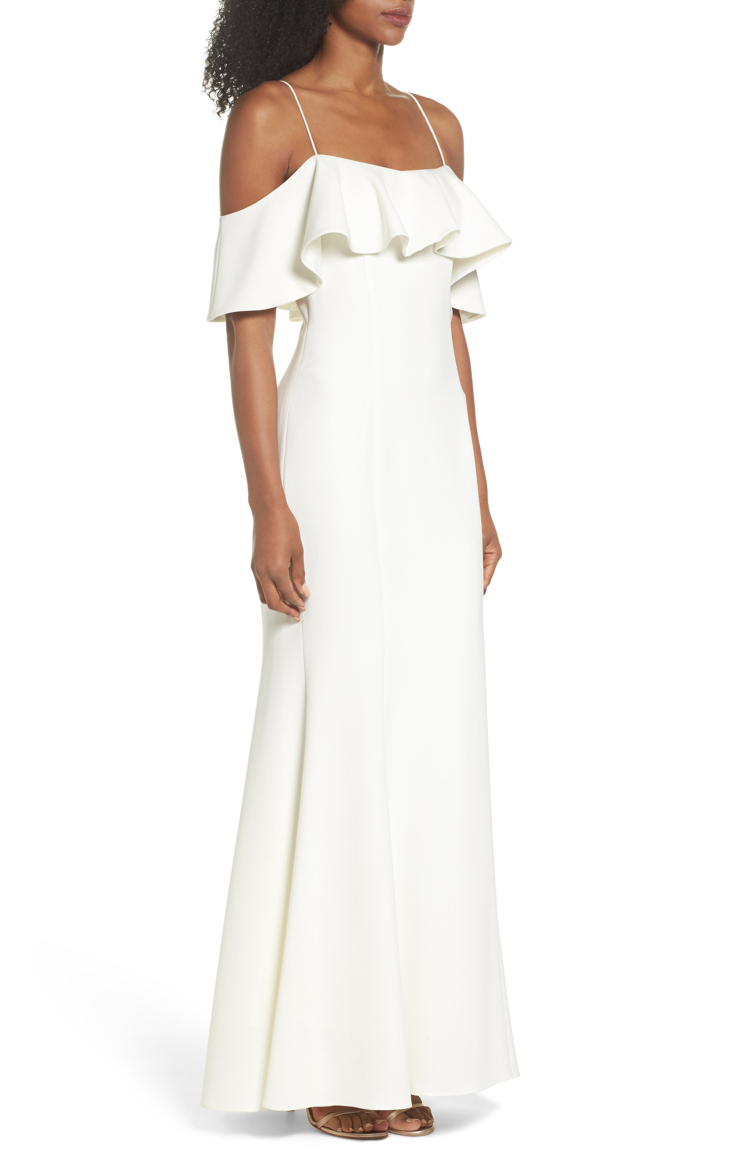 Ruffle Cold Shoulder Gown,                             Alternate thumbnail 5, color,                             Ivy