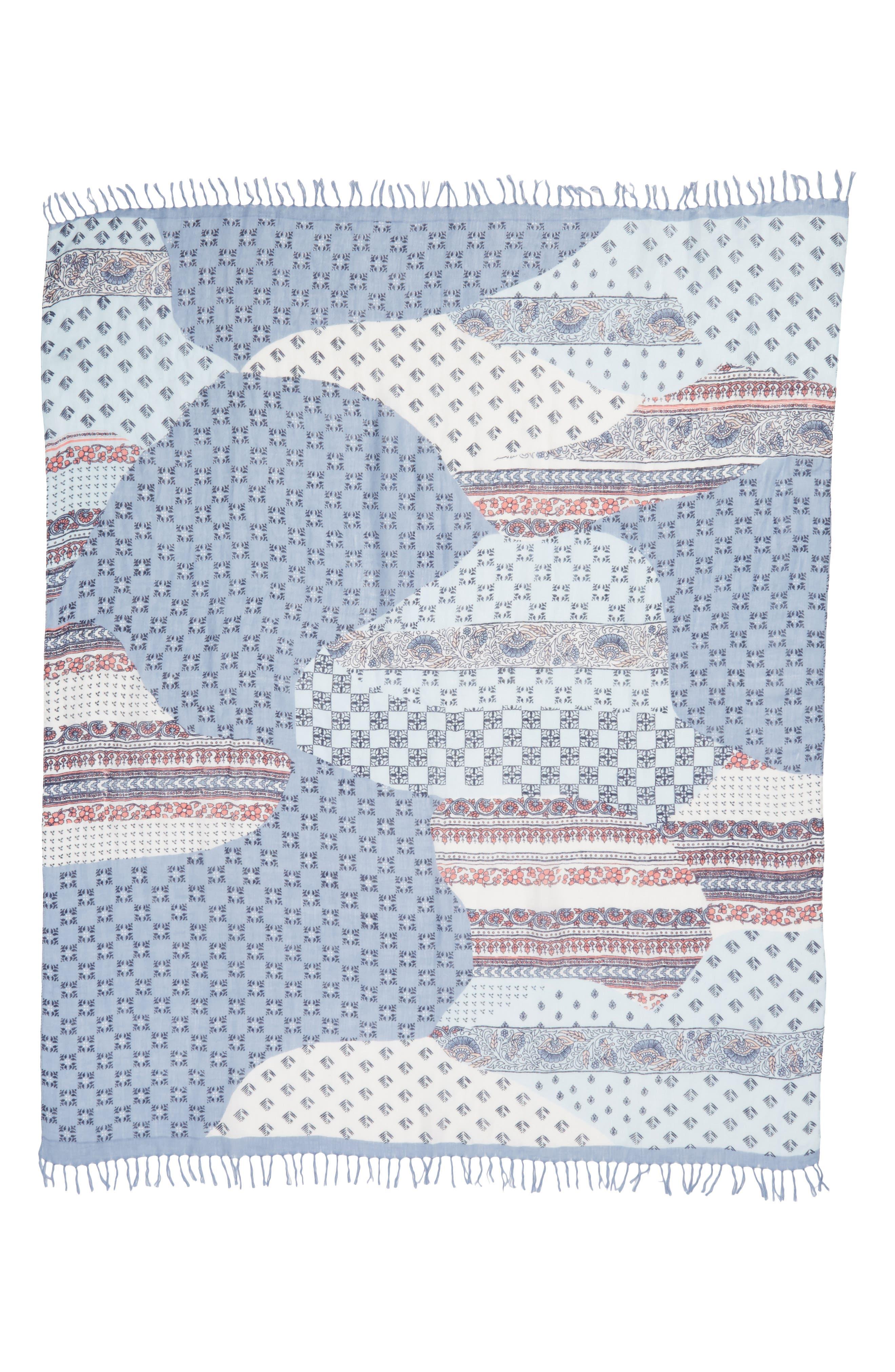 Mixed Print Scarf,                             Alternate thumbnail 3, color,                             Blue Kaleidoscope Mix