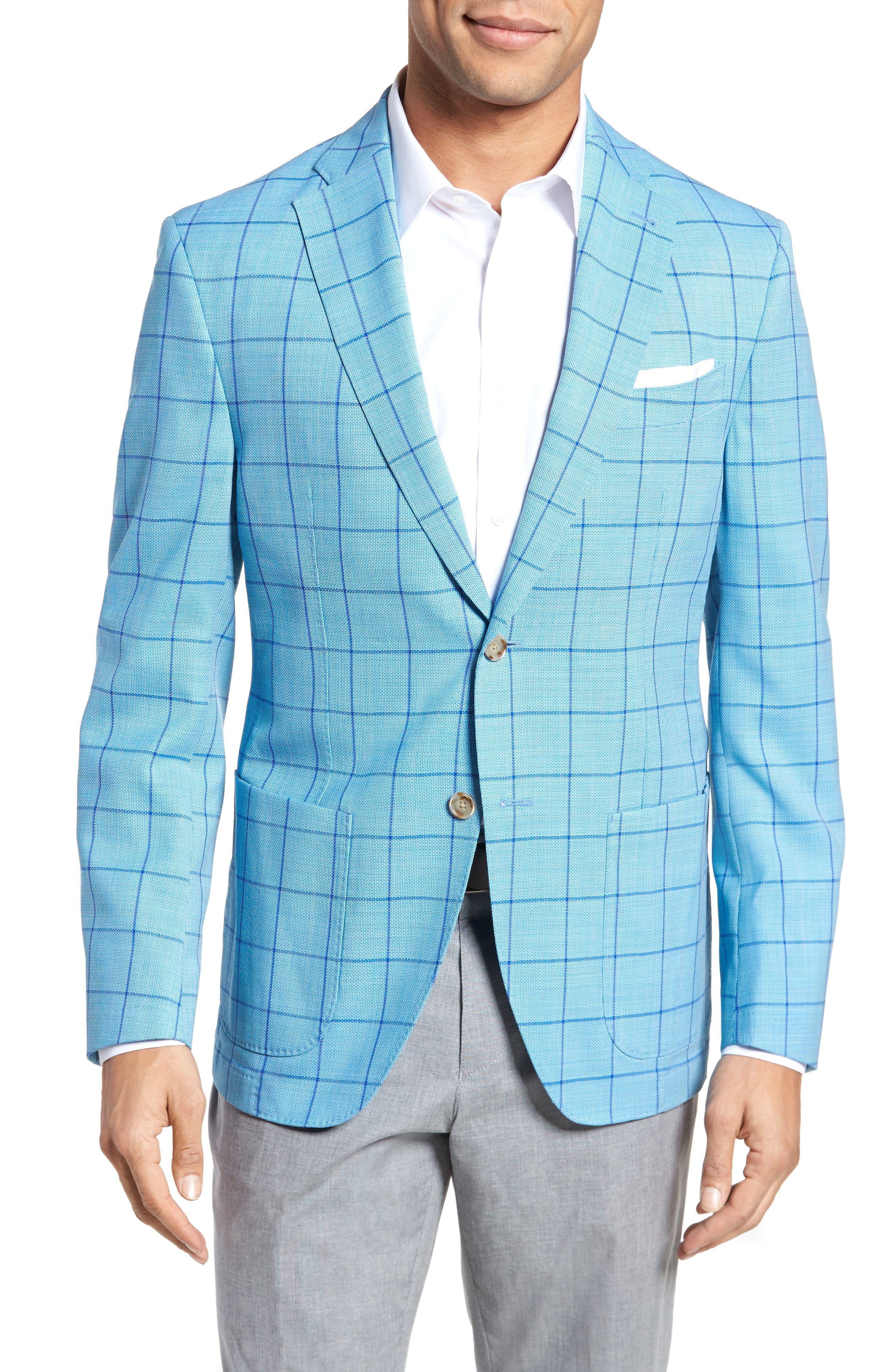 Trent Trim Fit Windowpane Wool Sport Coat,                         Main,                         color, Blue