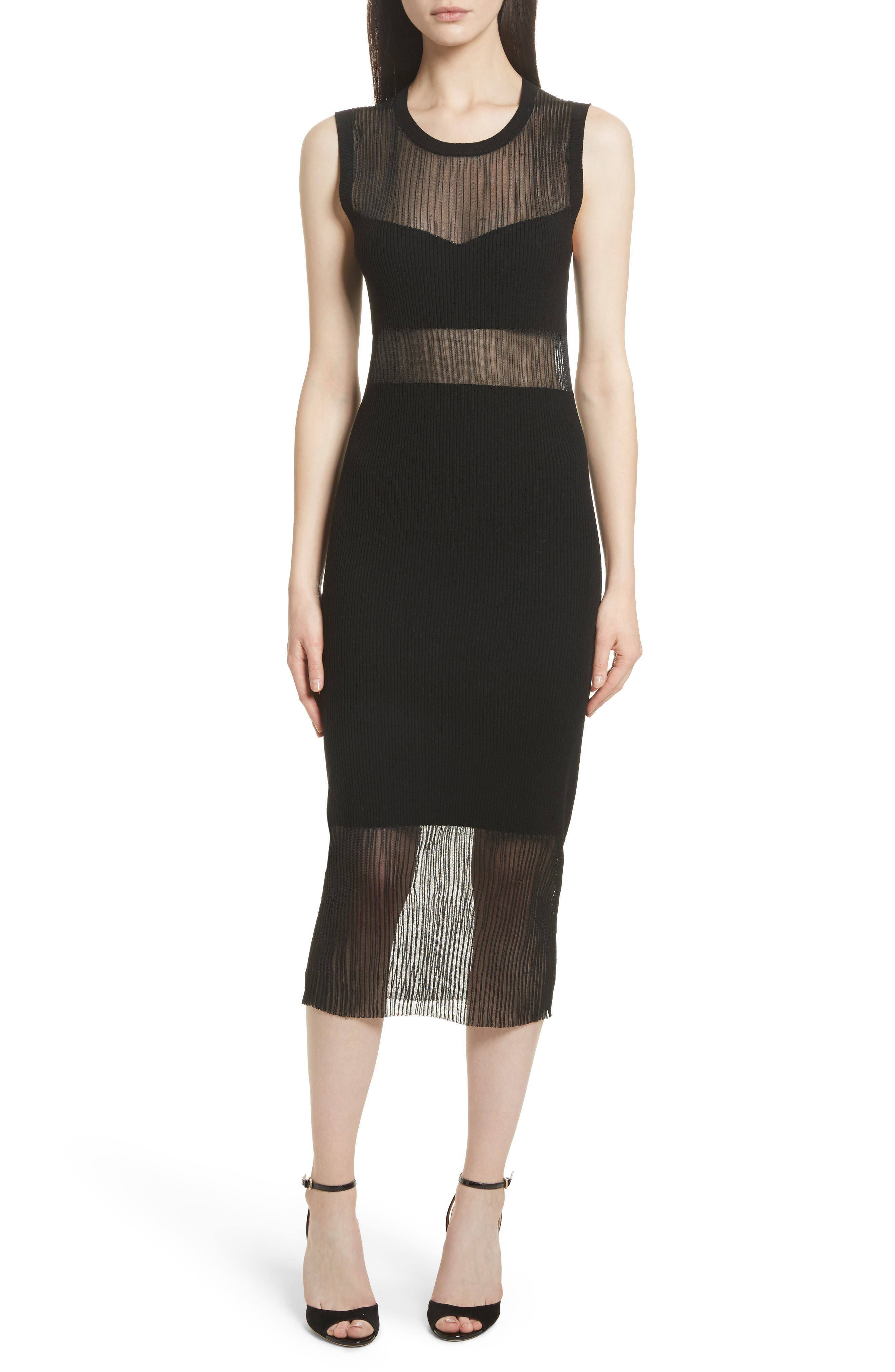 Elizabeth and James Jasmine Sheer Panel Body-Con Dress