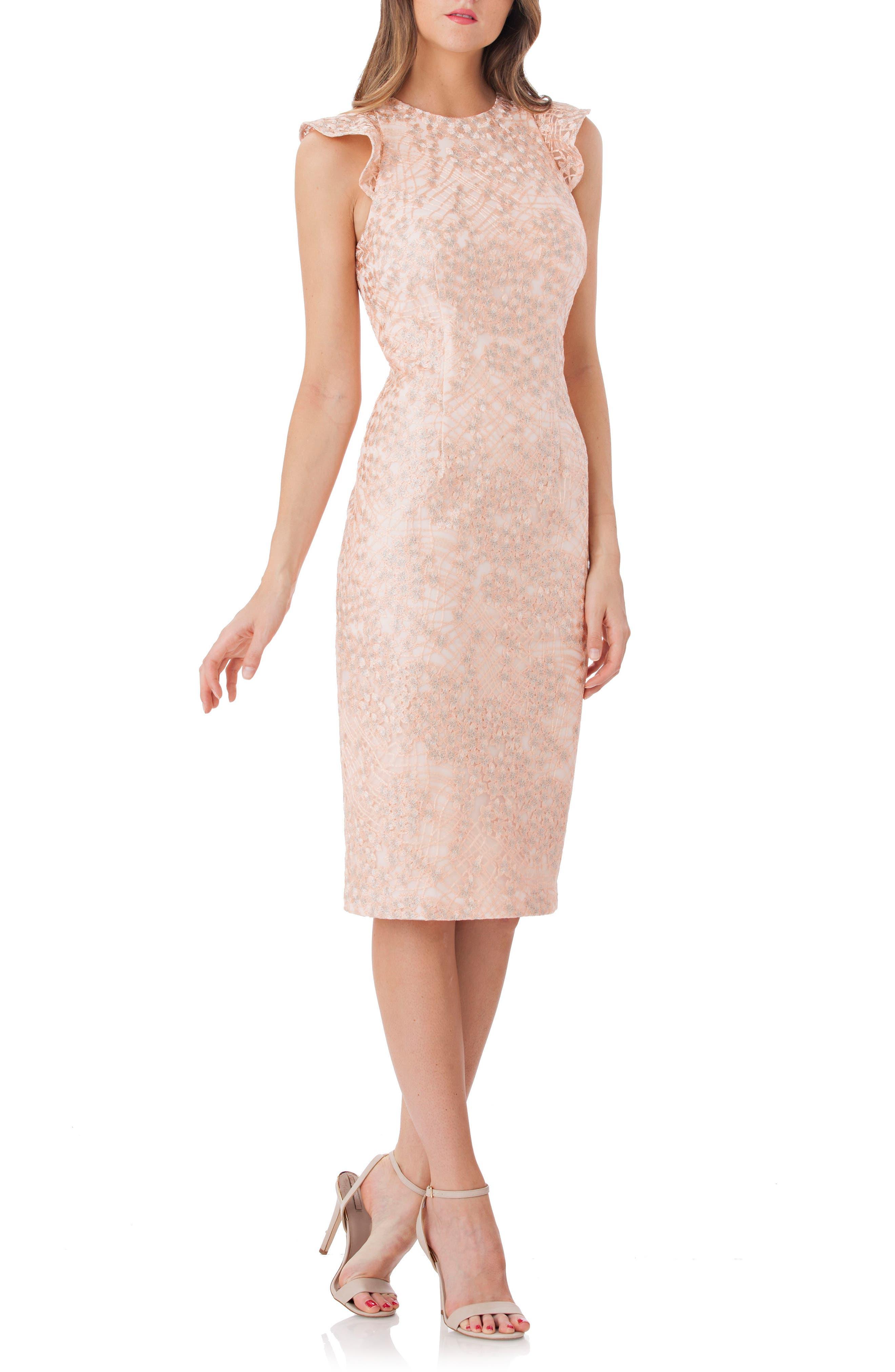 Back Cutout Lace Sheath Dress,                             Main thumbnail 1, color,                             Blush/ Sil