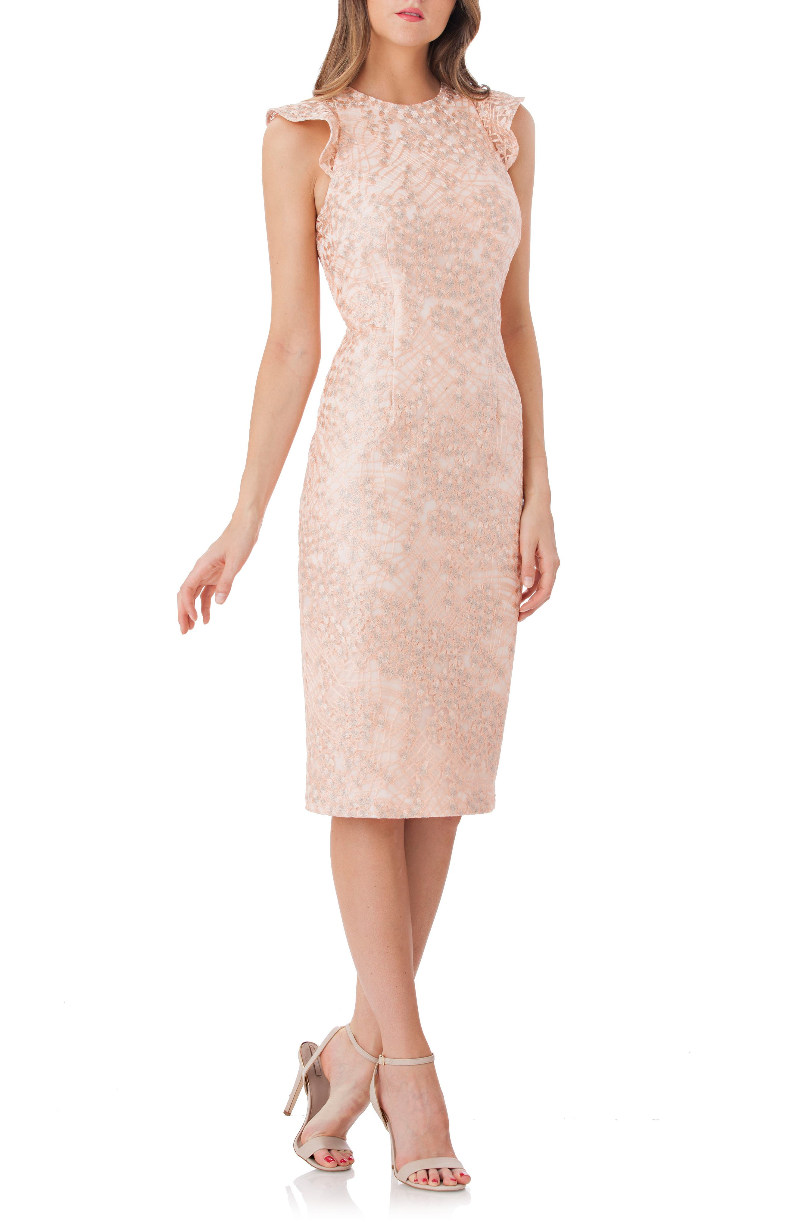 Back Cutout Lace Sheath Dress,                         Main,                         color, Blush/ Sil