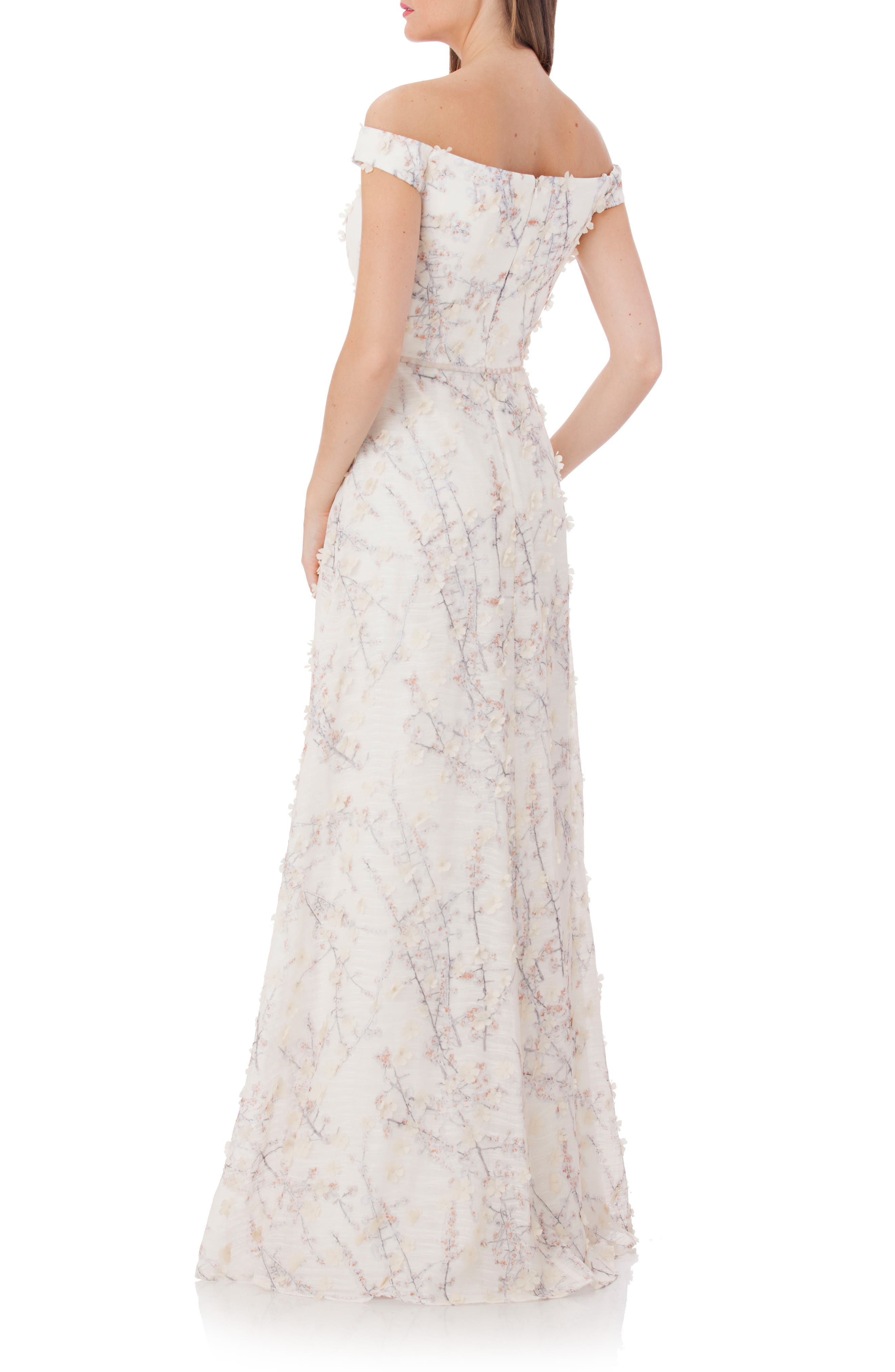 3D Embroidery Off the Shoulder Gown,                             Alternate thumbnail 2, color,                             Champagne