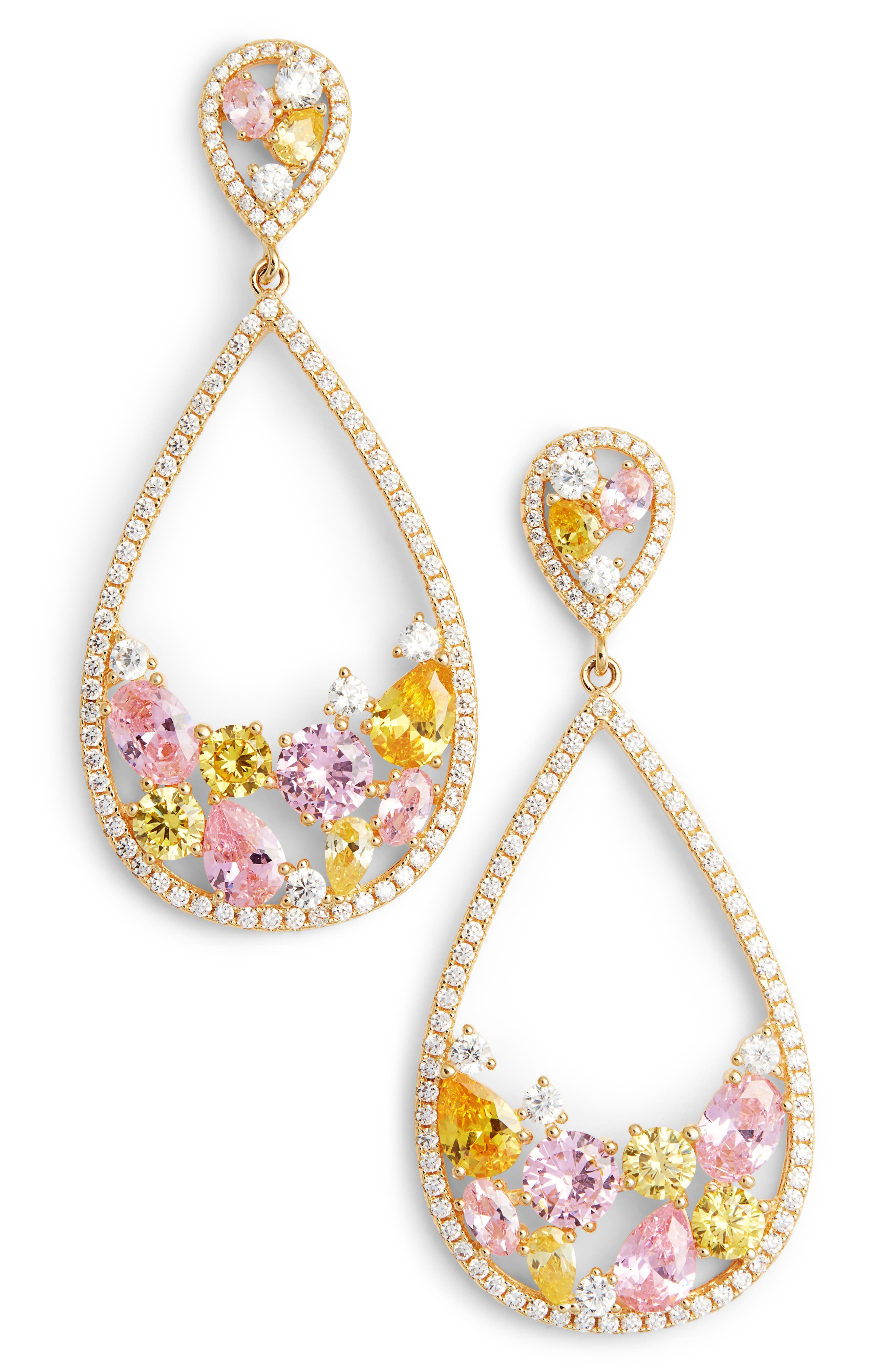 Stone Cluster Open Teardrop Earrings,                         Main,                         color, Gold/ Pink/ Yellow/ White Cz