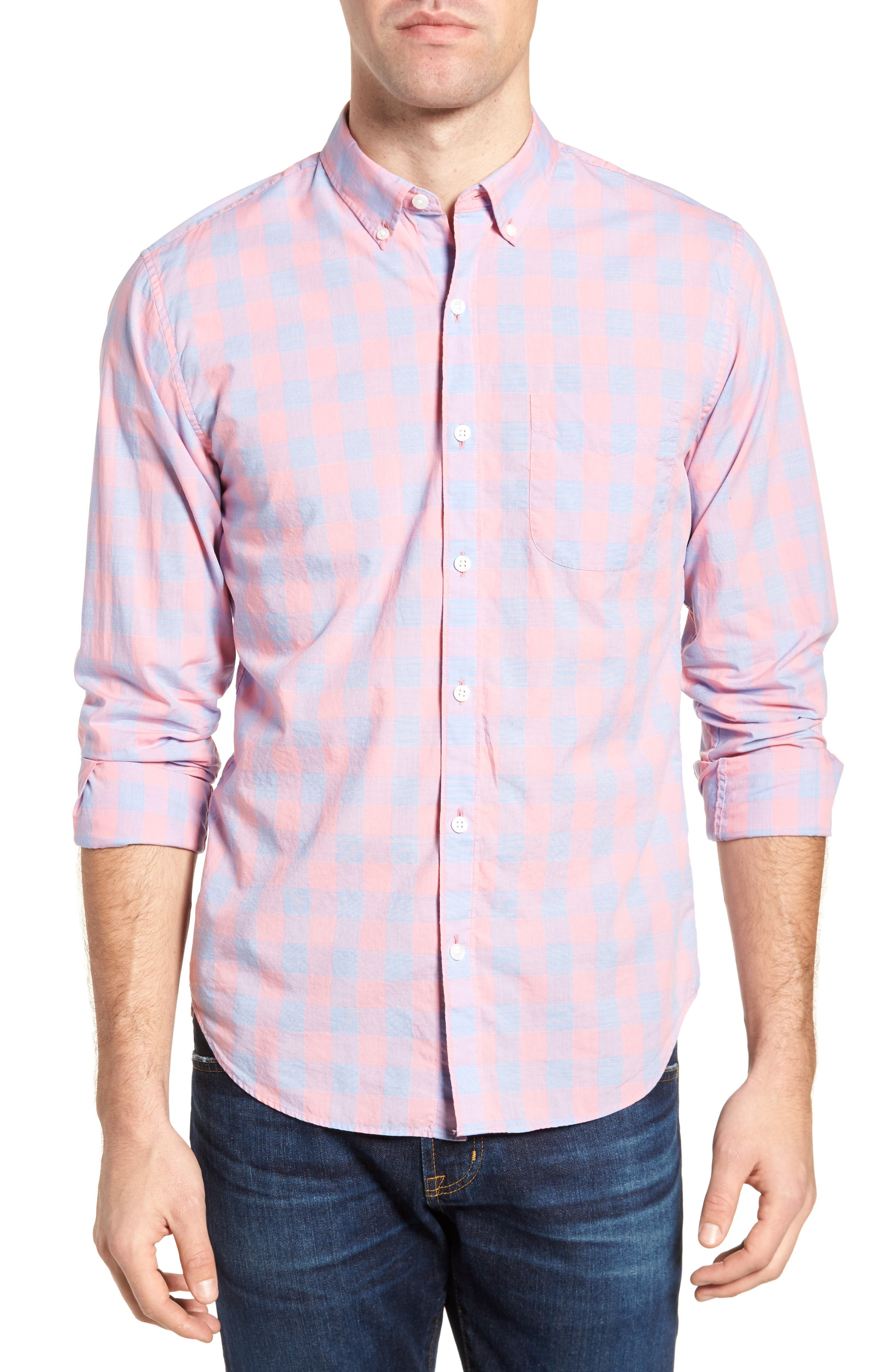 Summerweight Slim Fit Gingham Sport Shirt,                         Main,                         color, Canyon Lake Gingham/ Pink
