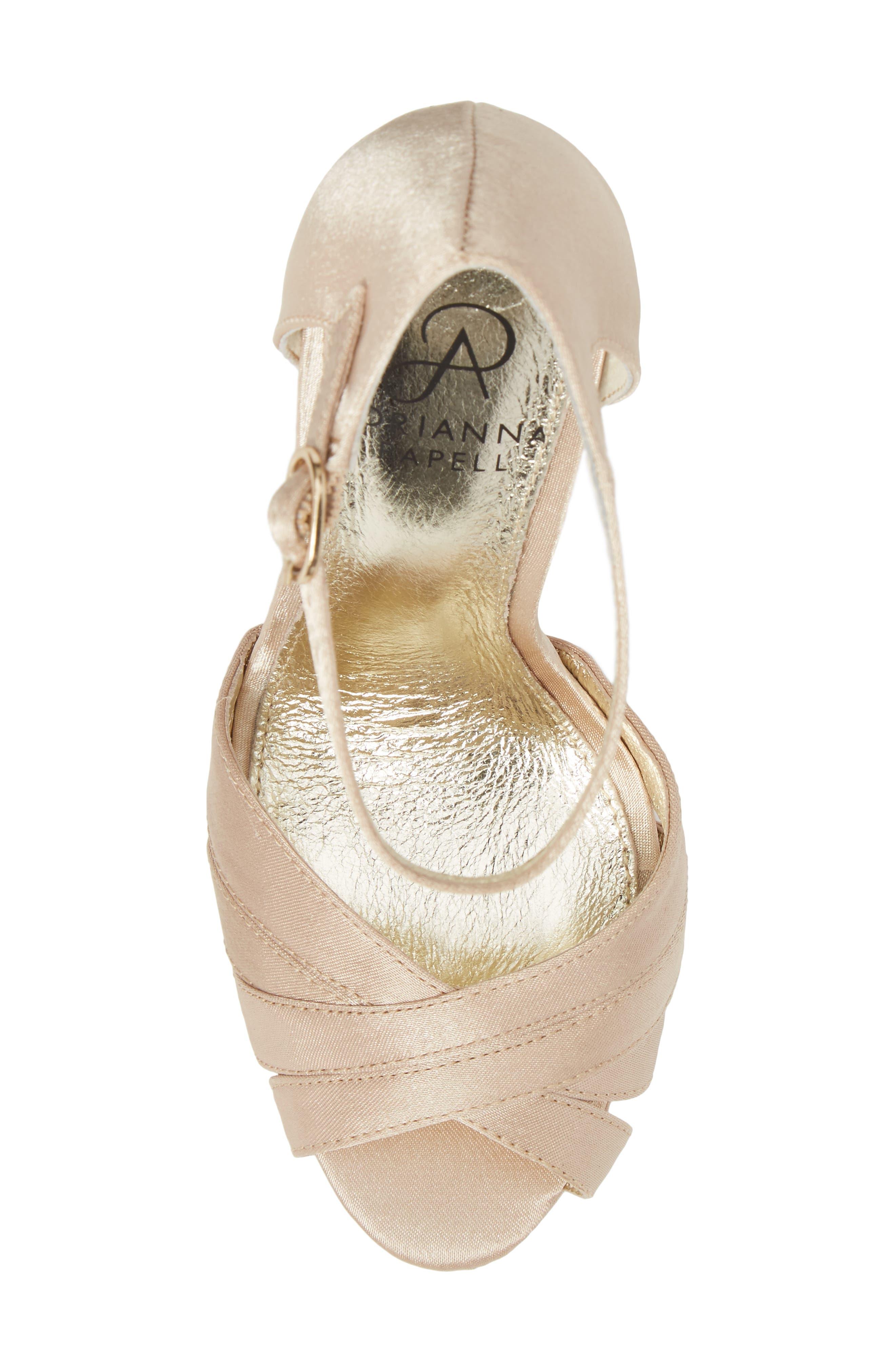 Samoa Platform Sandal,                             Alternate thumbnail 5, color,                             Nude Classic Satin