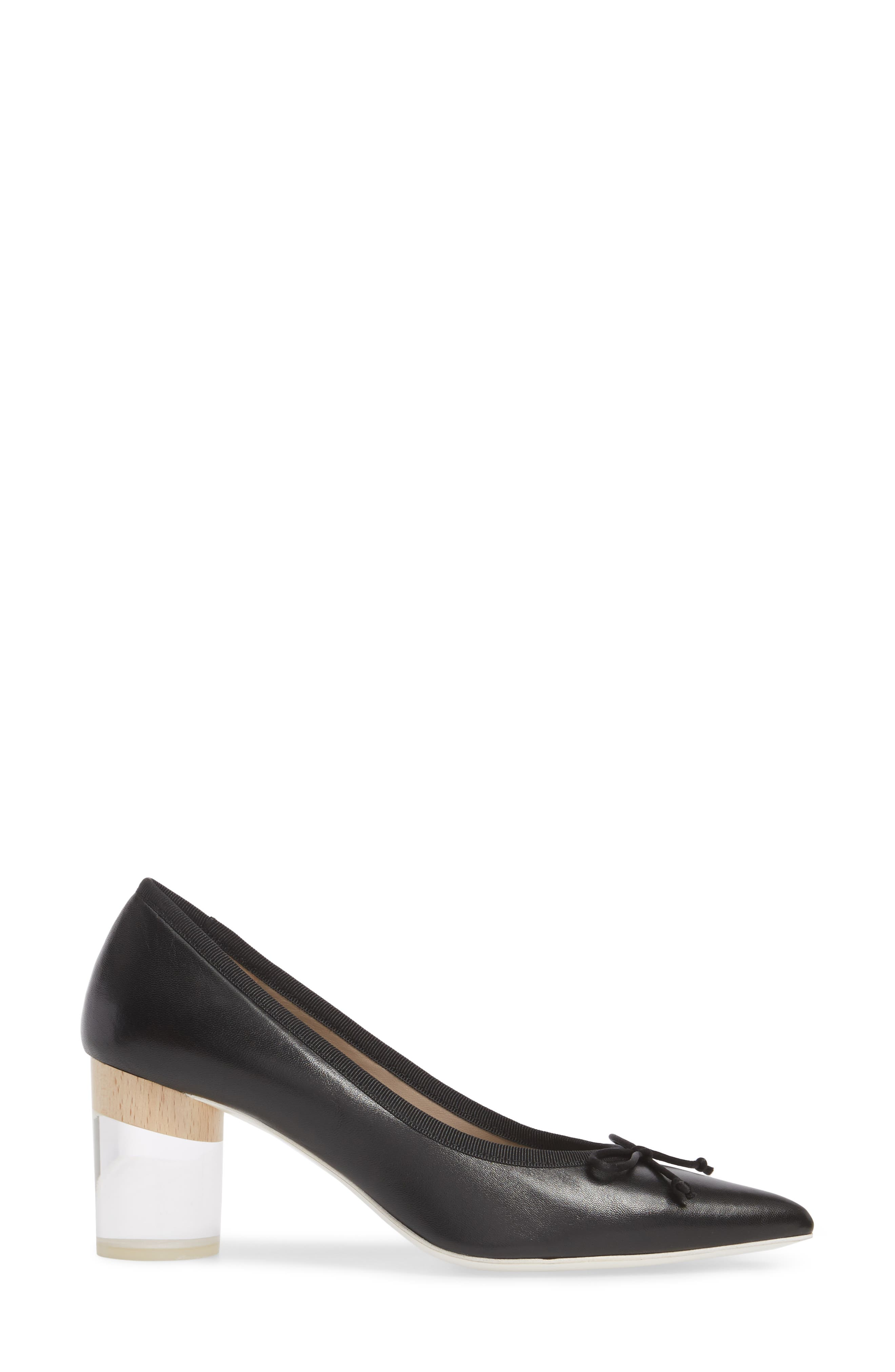 Asia Pointy Toe Pump,                             Alternate thumbnail 3, color,                             Black Leather